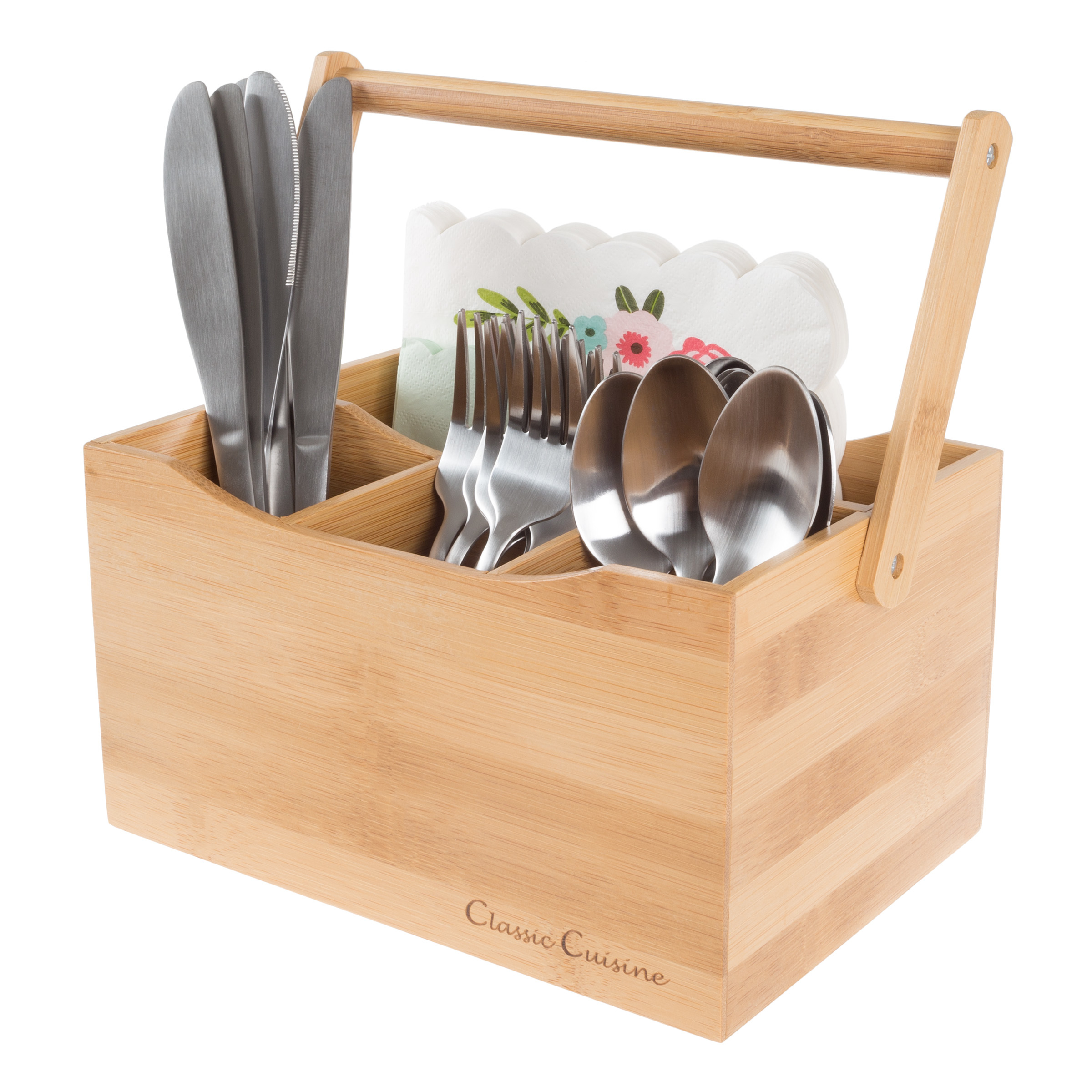 Bamboo Flatware Utensil Holder Silverware Organizer Picnic Table Party Wooden Box
