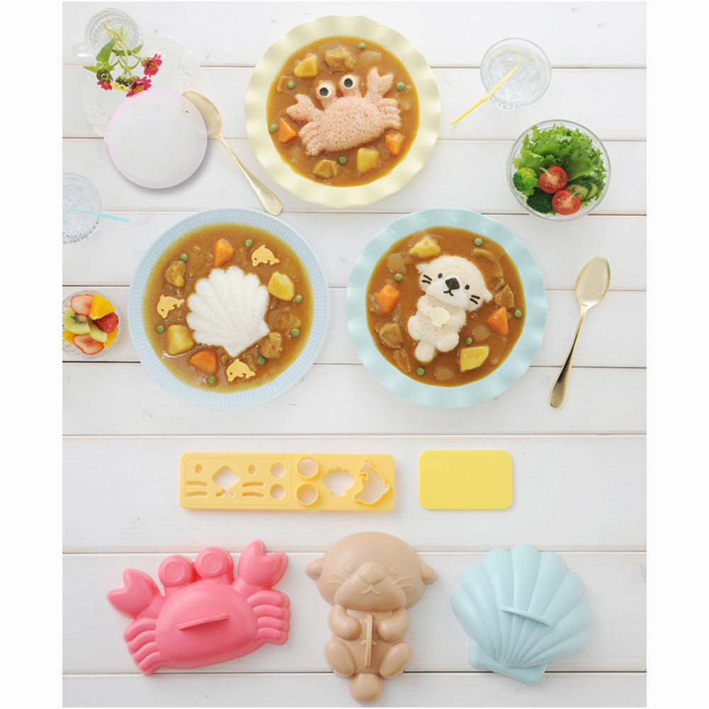 5pcs Rice Mold Crab Shell Bear Shape Mould Kids Food Making Cake Tool Combination Lunch 5afc079f4a519f661f2a9aec