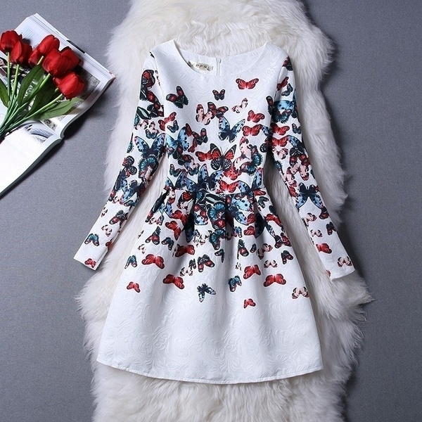 New Teenager Girl Dresses Children Clothing Spring Big Girls Dress Kids Clothes Floral Print