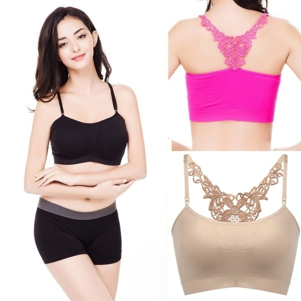 Women Girl Fitness Running Yoga Stretch Crop Top Seamless Sports Solid Padded Bra 5afea2132a00e4424e575ba0