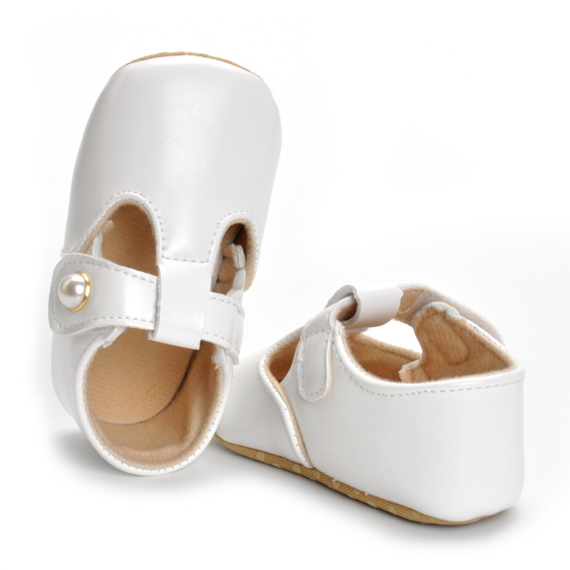 Infant Baby Girl Soft Sole White PU Leather First Walkers Cute Shoes 0-18 Months 11-13cm