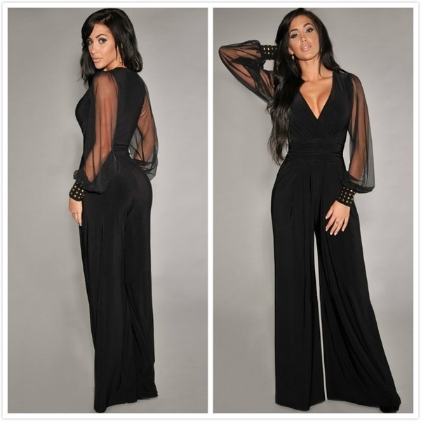 Women Fashion Black Embellished Cuffs Long Mesh Sleeves Jumpsuit (One Size)