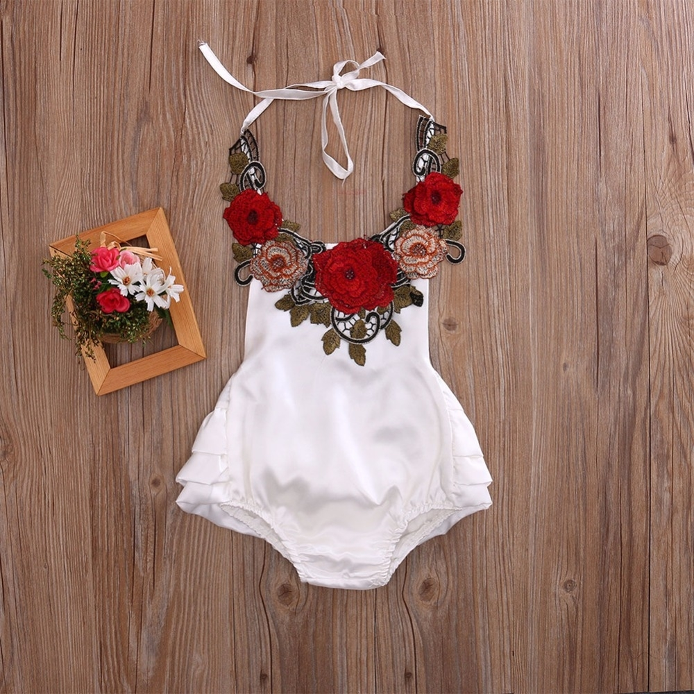 Babies Girl Red White Patchwork Flower Clothes Sunsuit Romper Dress Outfit