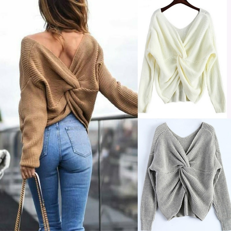 New 3 colors V Neck Twisted Back Sweater Women Jumpers Pullovers Long Sleeve Knitted