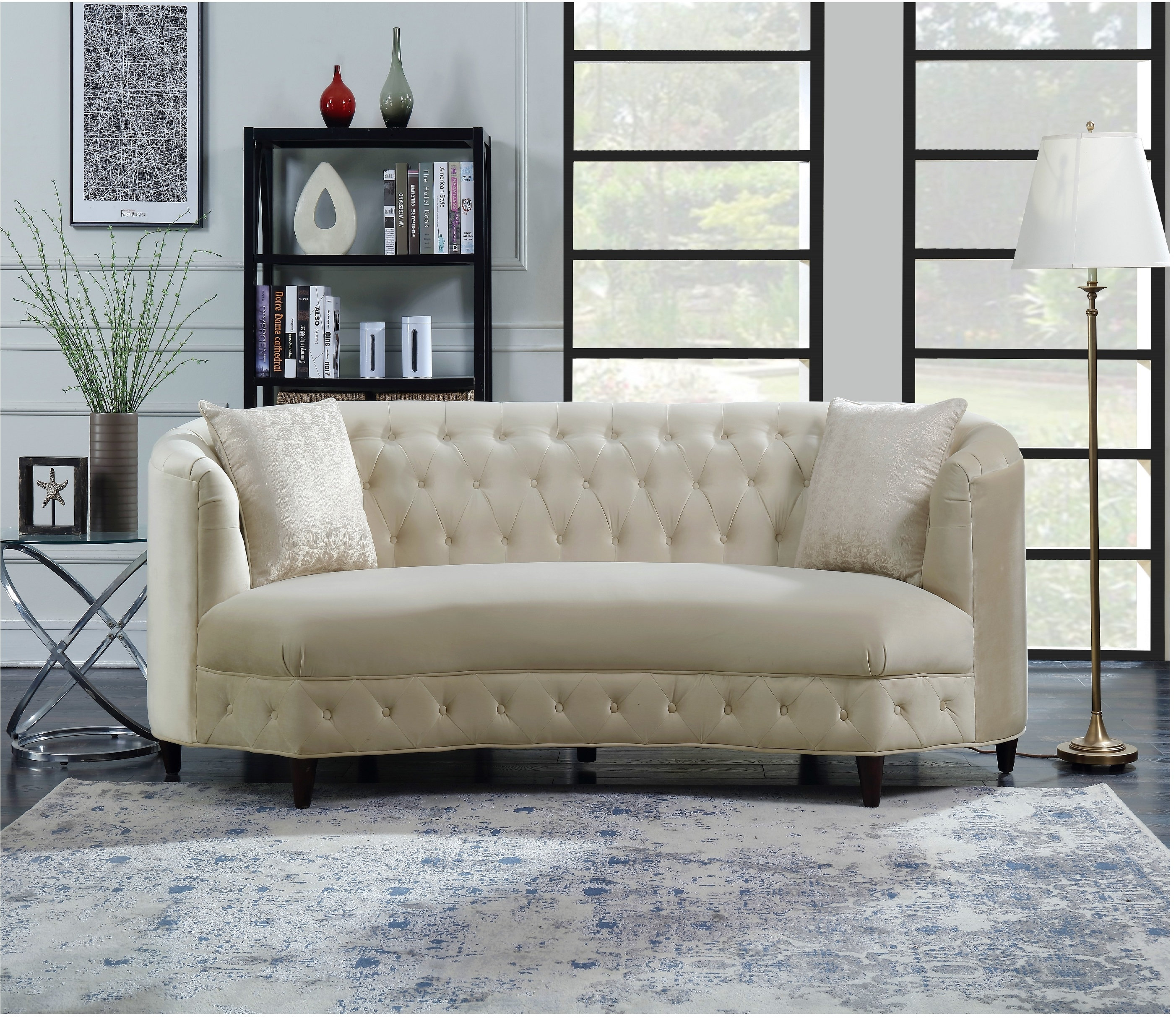 Sassa Kidney Shaped Club Sofa with 2 Accent Pillows - Champagne