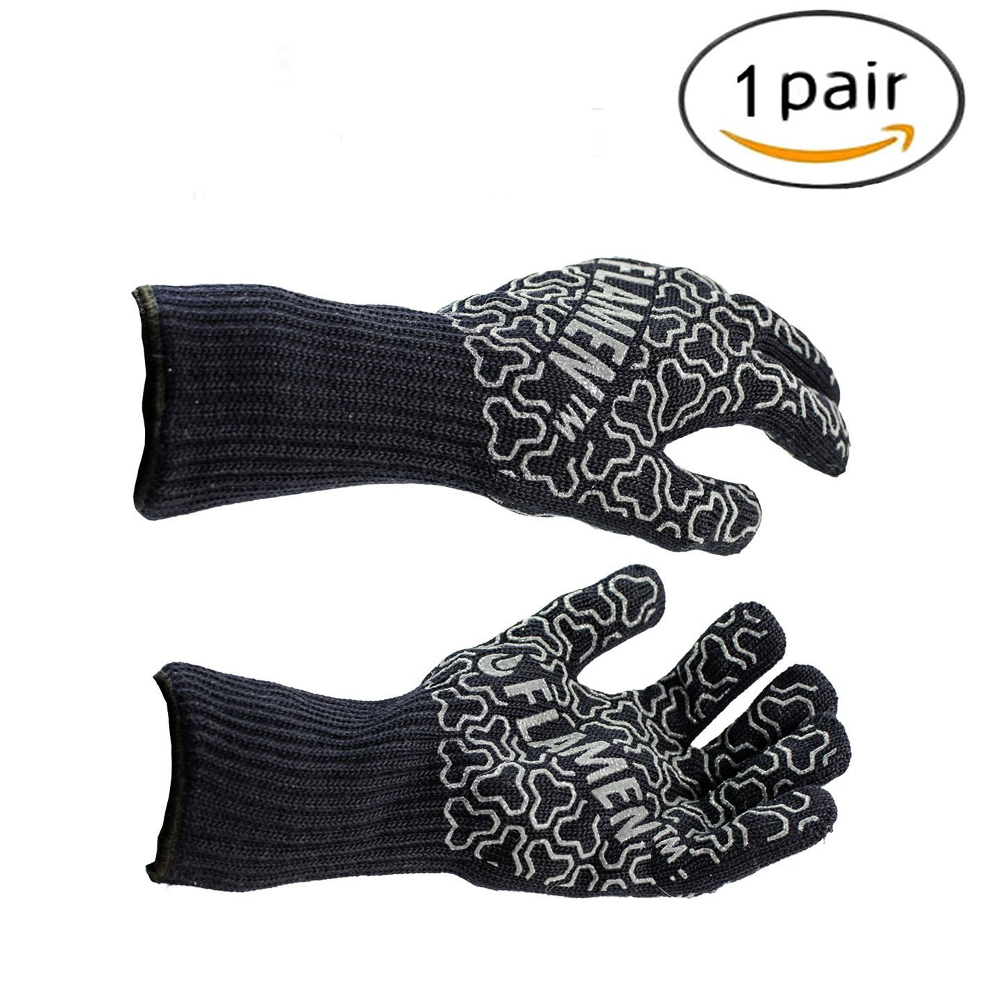 Heat Resistant Gloves with Red Non-Slip Silicone Grip BBQ Grilling Cooking Gloves 932�HKitchen Oven Mitts Gloves with Fingers size 1 Pair 5b07cdc72a00e41bd804cf05