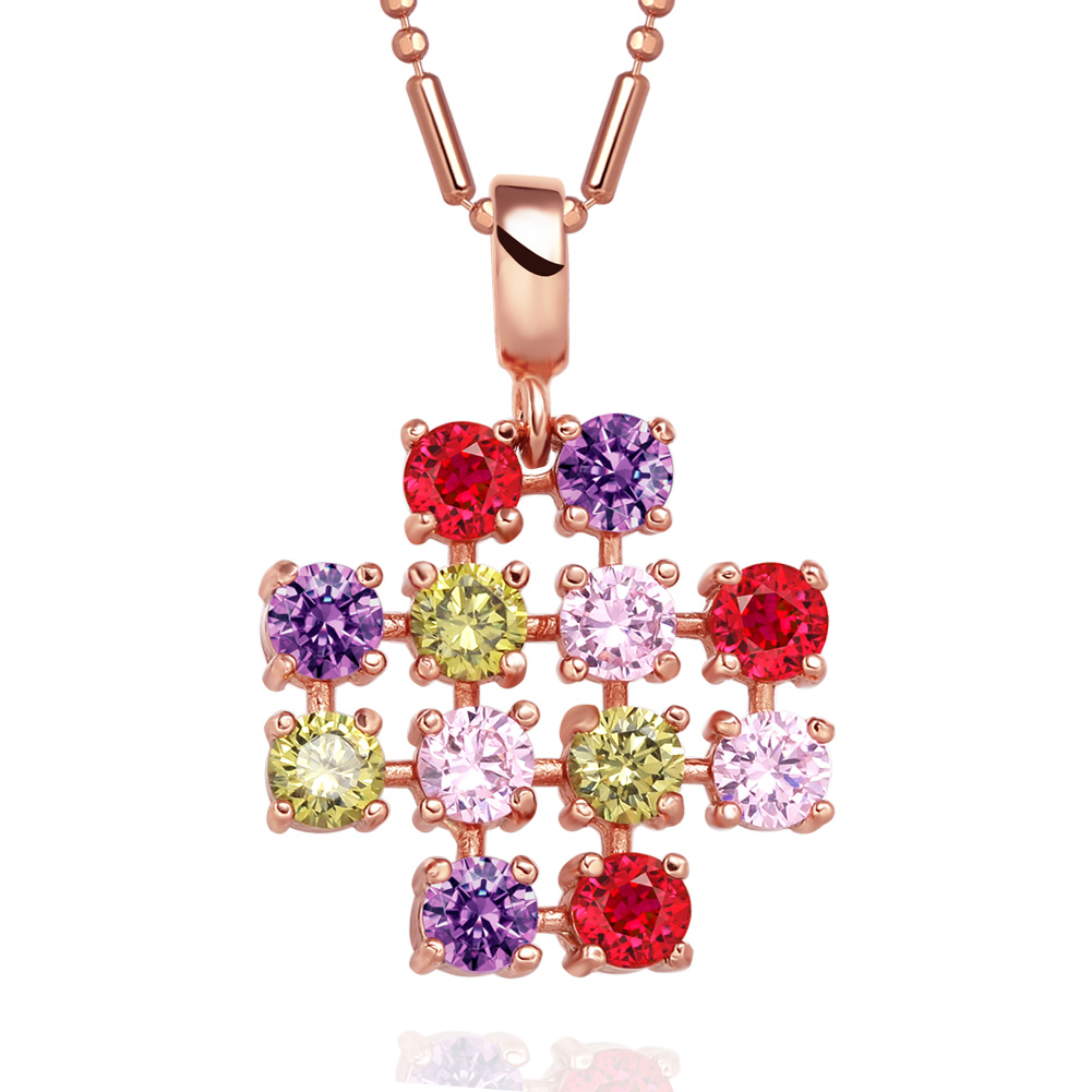 Magical Jerusalem Cross Protection Powers Amulet Gold-Tone Colorful Sparkling Crystals 18 Inch Necklace