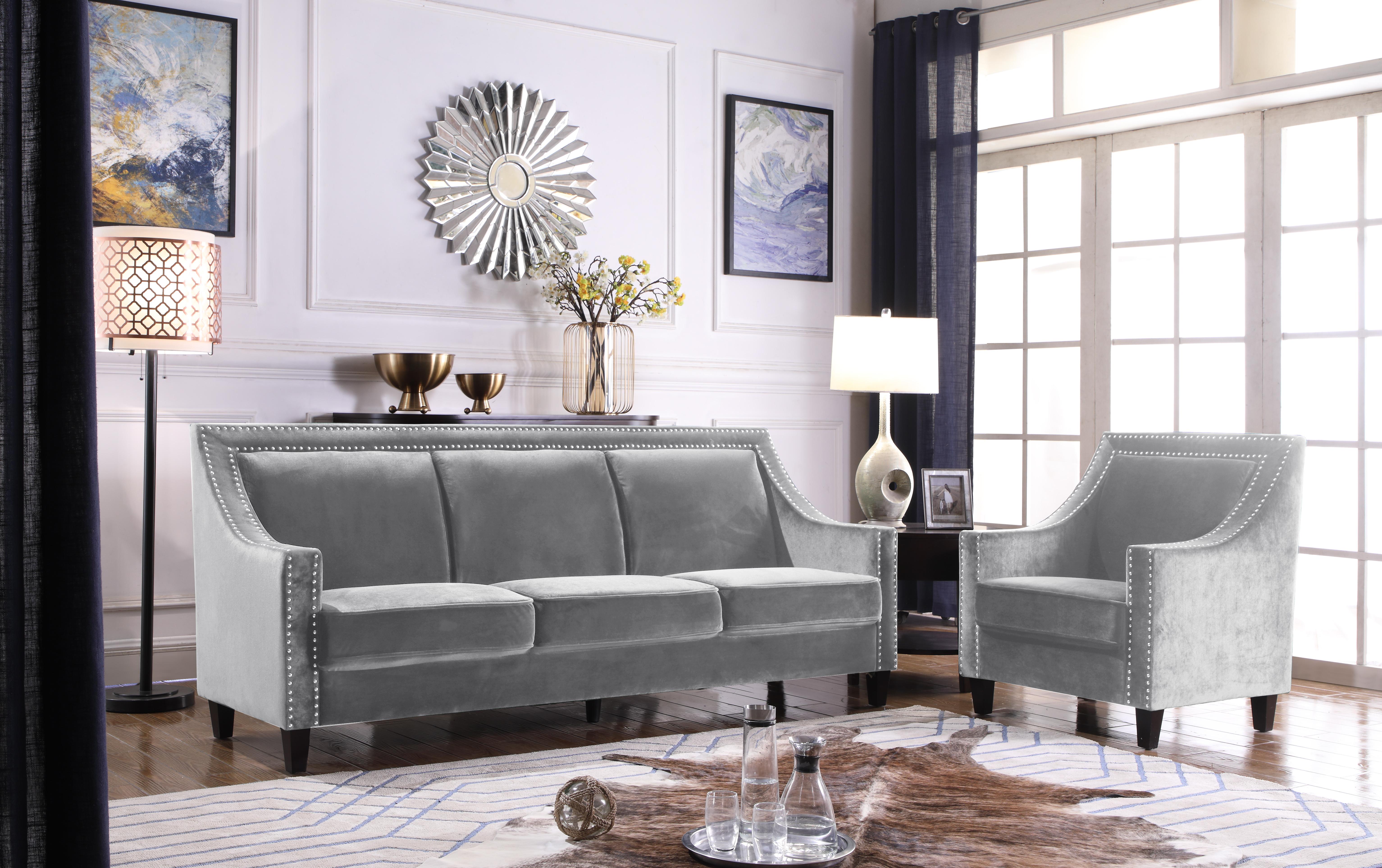 Sofa Velvet Upholstered Swoop Arm Silver Nailhead Trim
