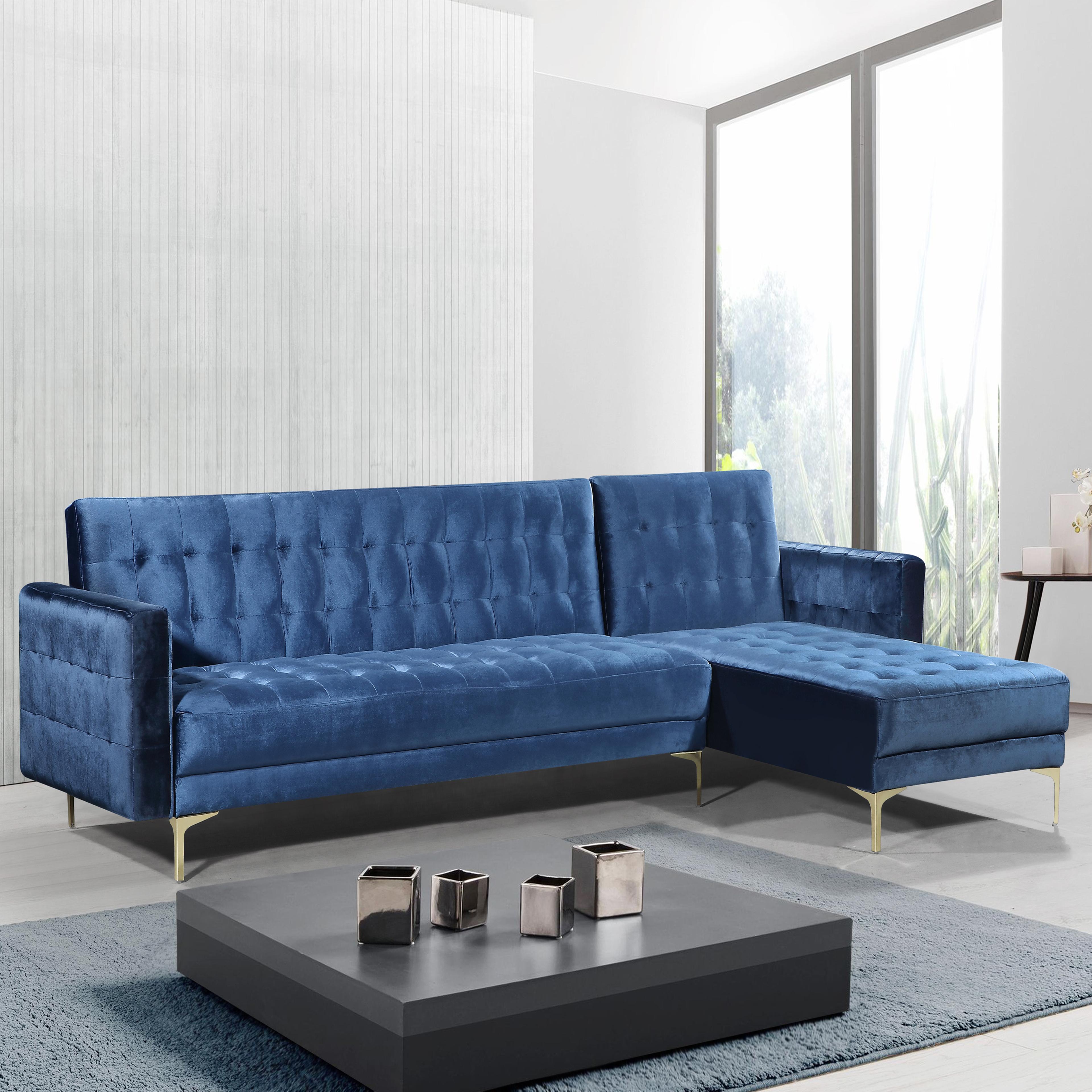 Right Facing Convertible Sectional Sofa Velvet Upholstered