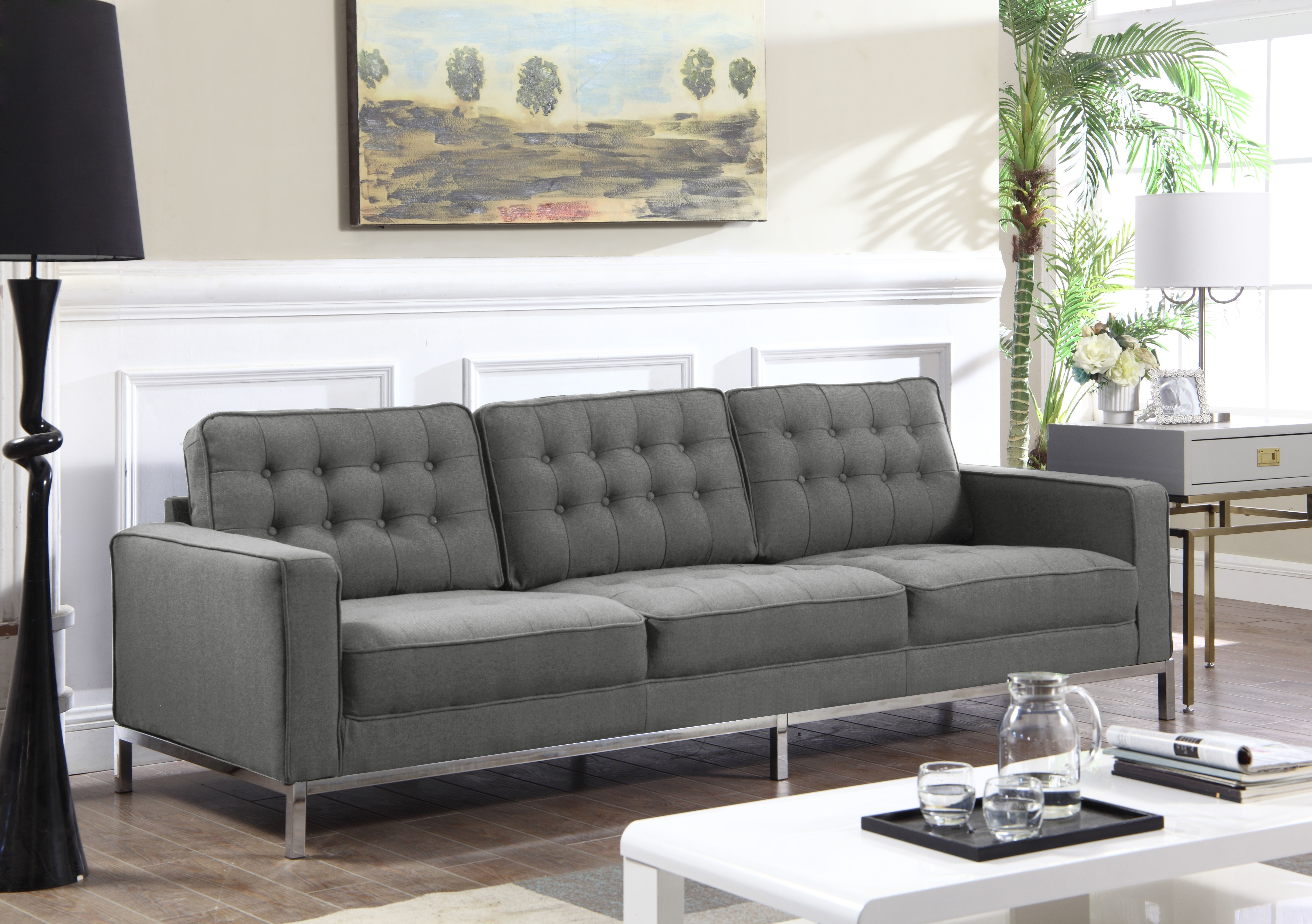 Iconic Linen Button Tufted Square Arm Silvertone Straight Leg Sofa Grey Tucker