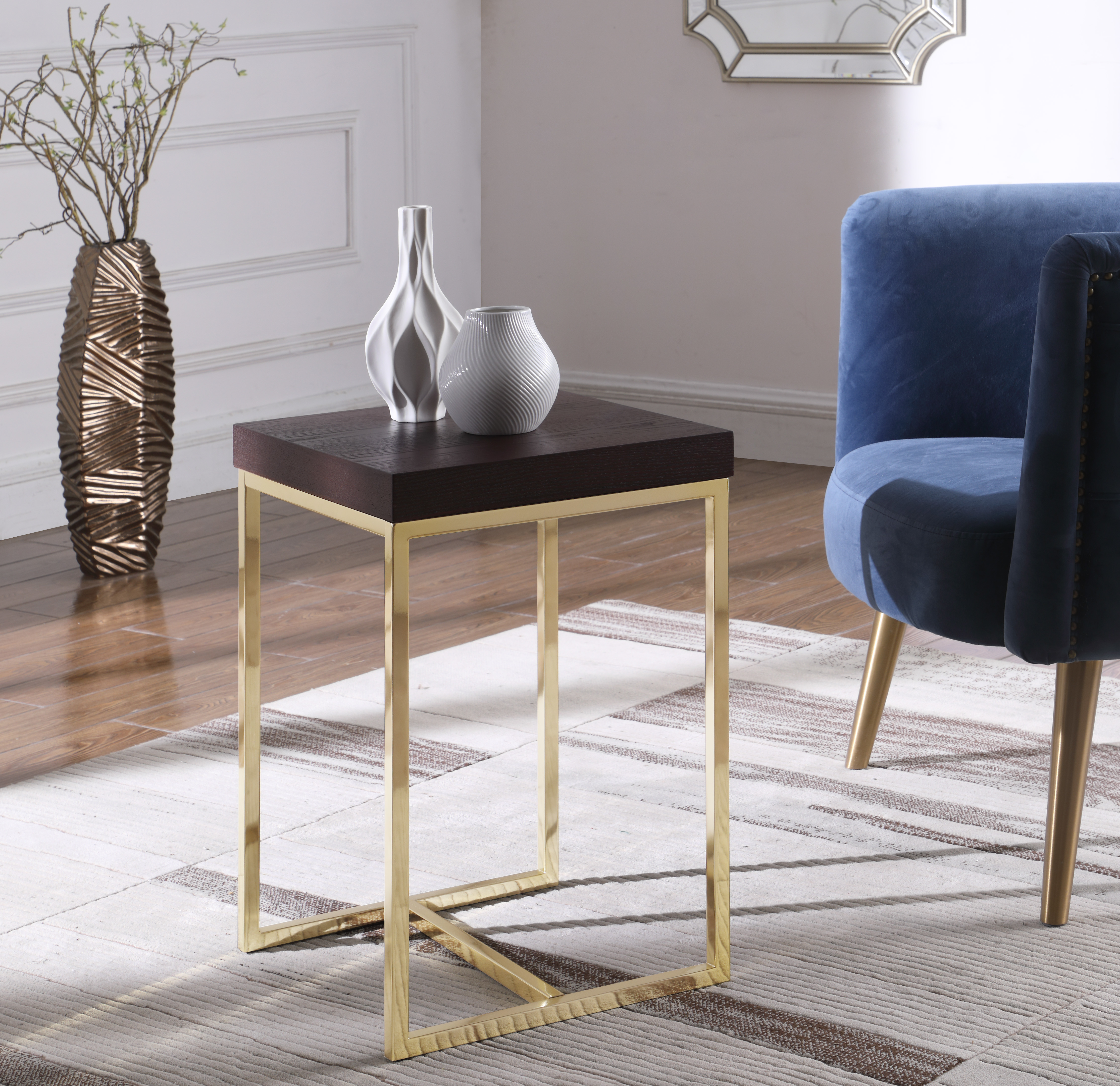 Ronel Nightstand Side Table with Ash Veneer Top Brass Brushed Stainless Steel Base - Espresso