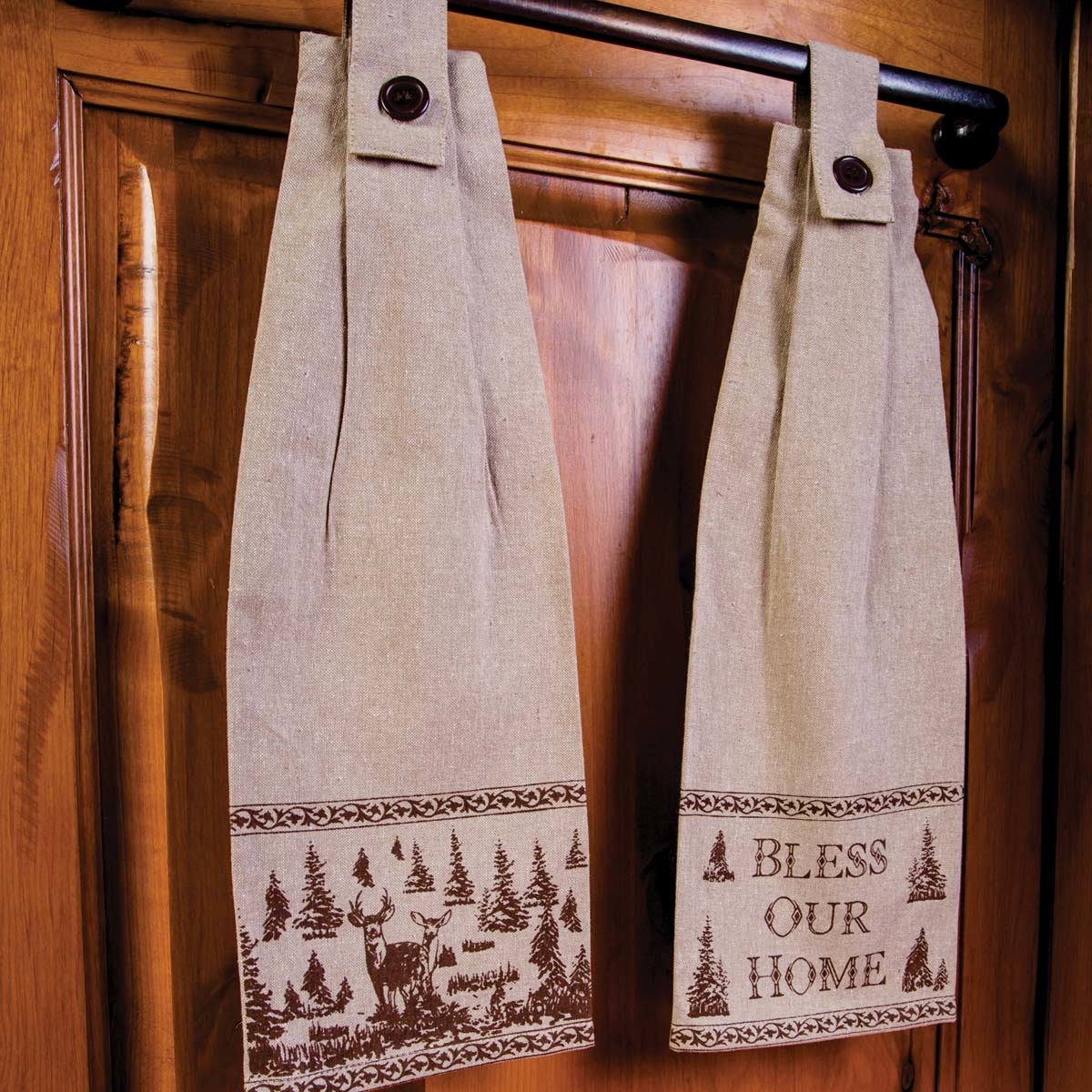 Seasonal Tabletop & Kitchen Woodland Christmas Button Loop Tan Kitchen Towel Set of 2 5b17f29d2a00e41be80d114a