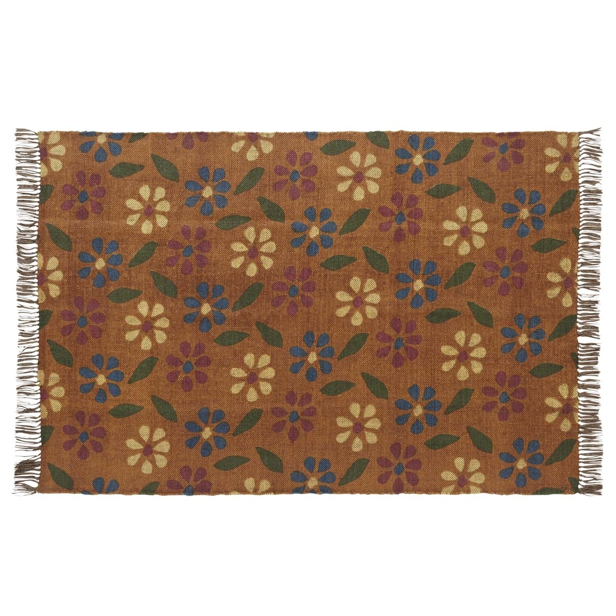 Farmhouse Rugs Somerville Printed Orange Rectangle Kilim Rug