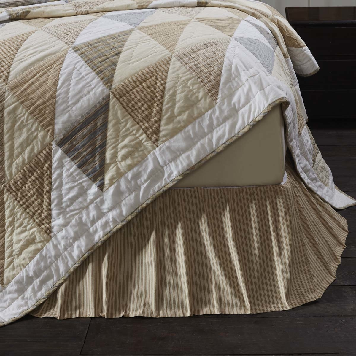 Farmhouse Bedding Joanna Ticking Stripe Tan Bed Skirt