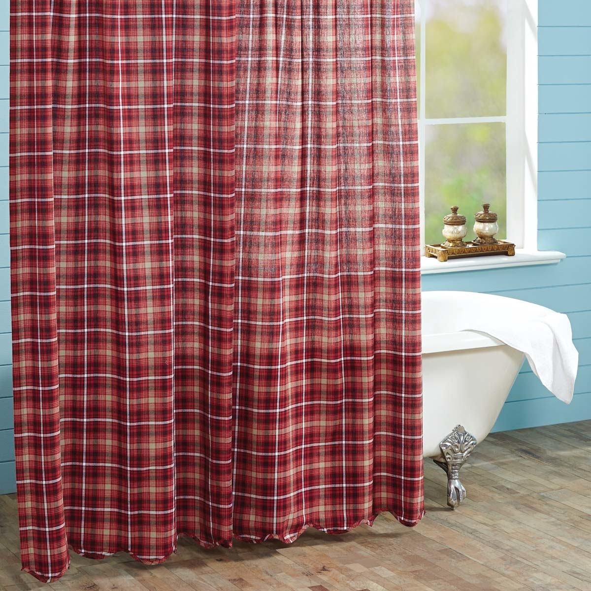 Rustic & Lodge Bath Braxton Scalloped Red Shower Curtain 5b17f2db2a00e41bef2faa5b