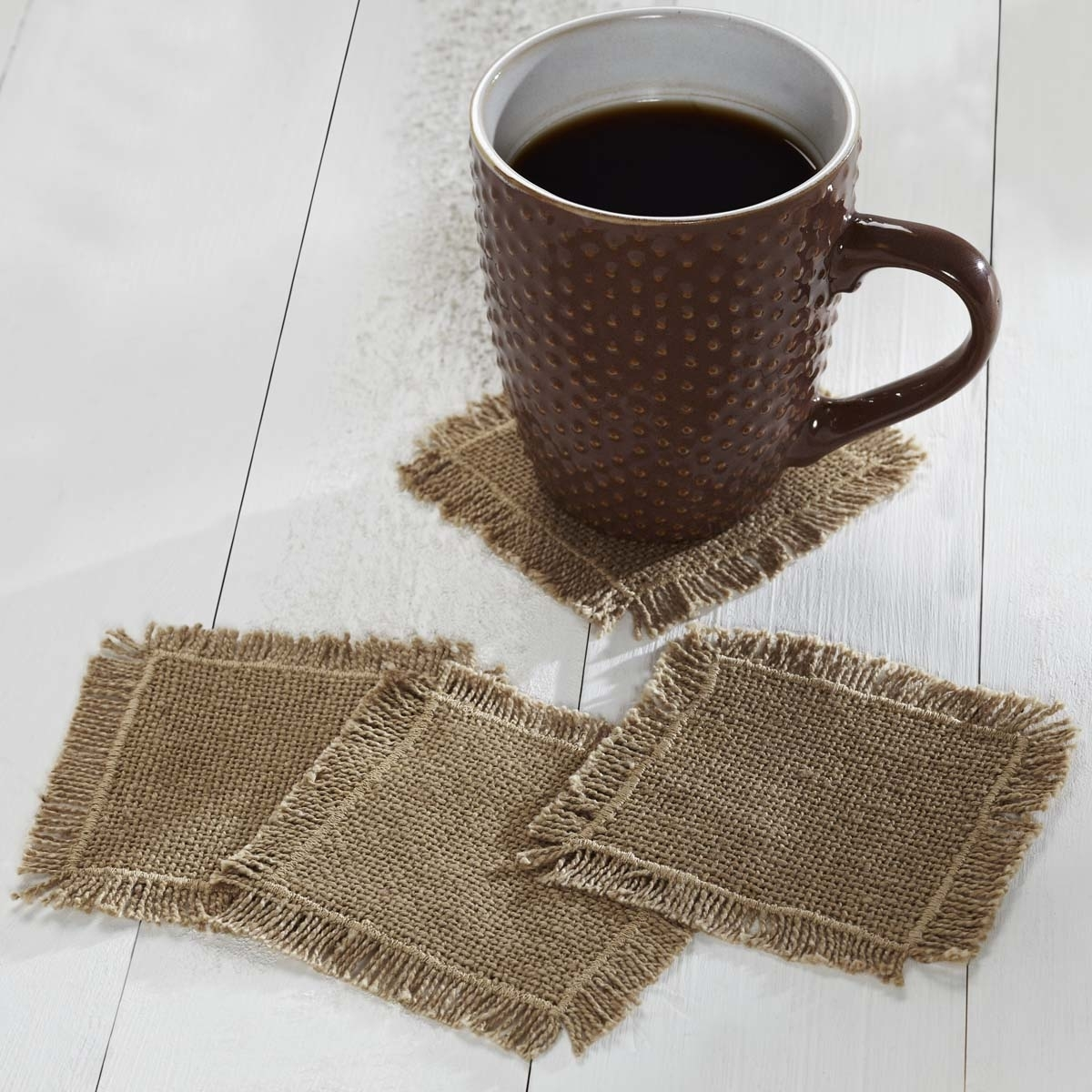 Farmhouse Tabletop & Kitchen Burlap Natural Fringed Tan Coaster Set of 4