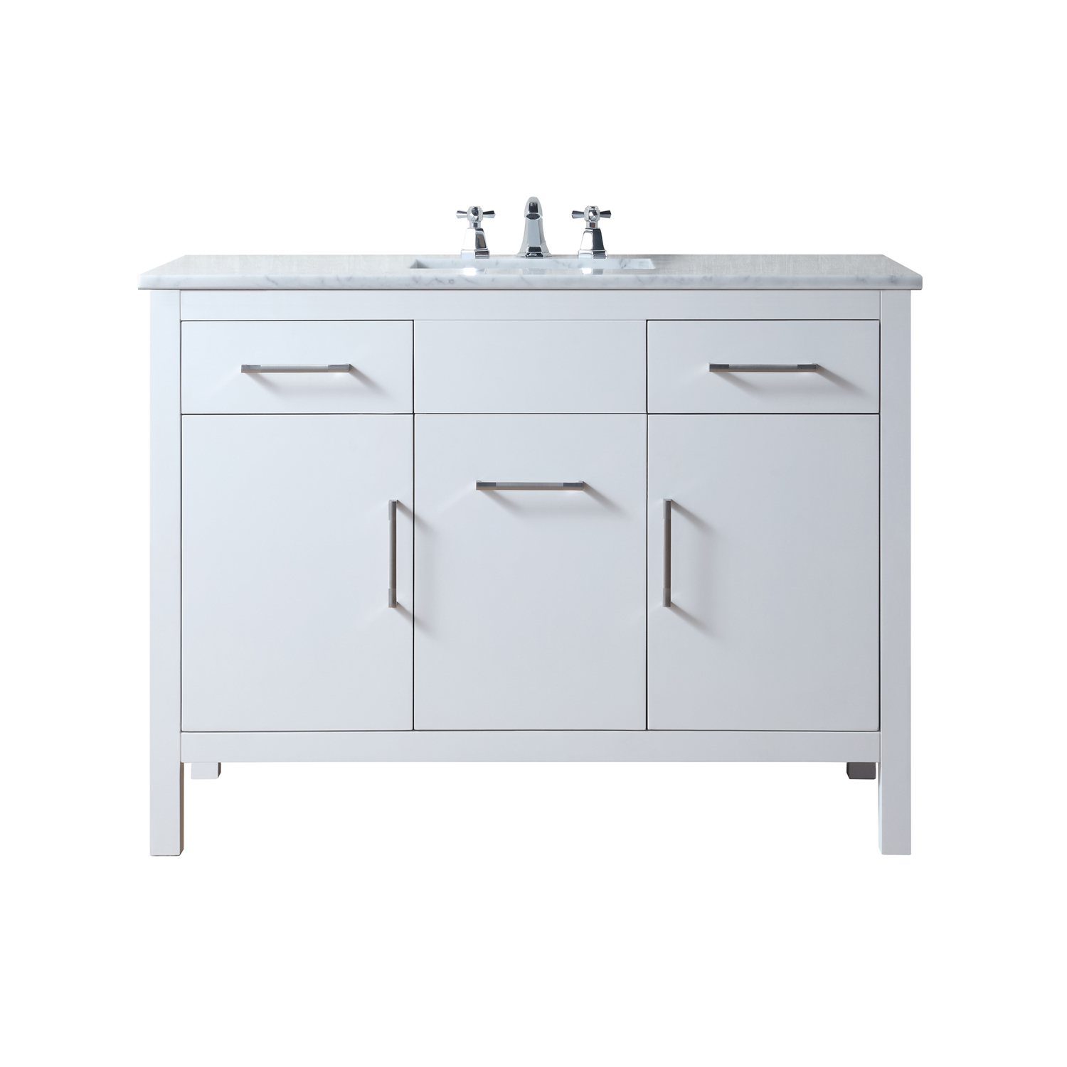 Atreus 48 inch White Single Sink Bathroom Vanity with Carrara Marble Top