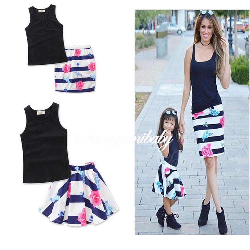 Black vest + Flower skirt Parent-child Set heat Sell