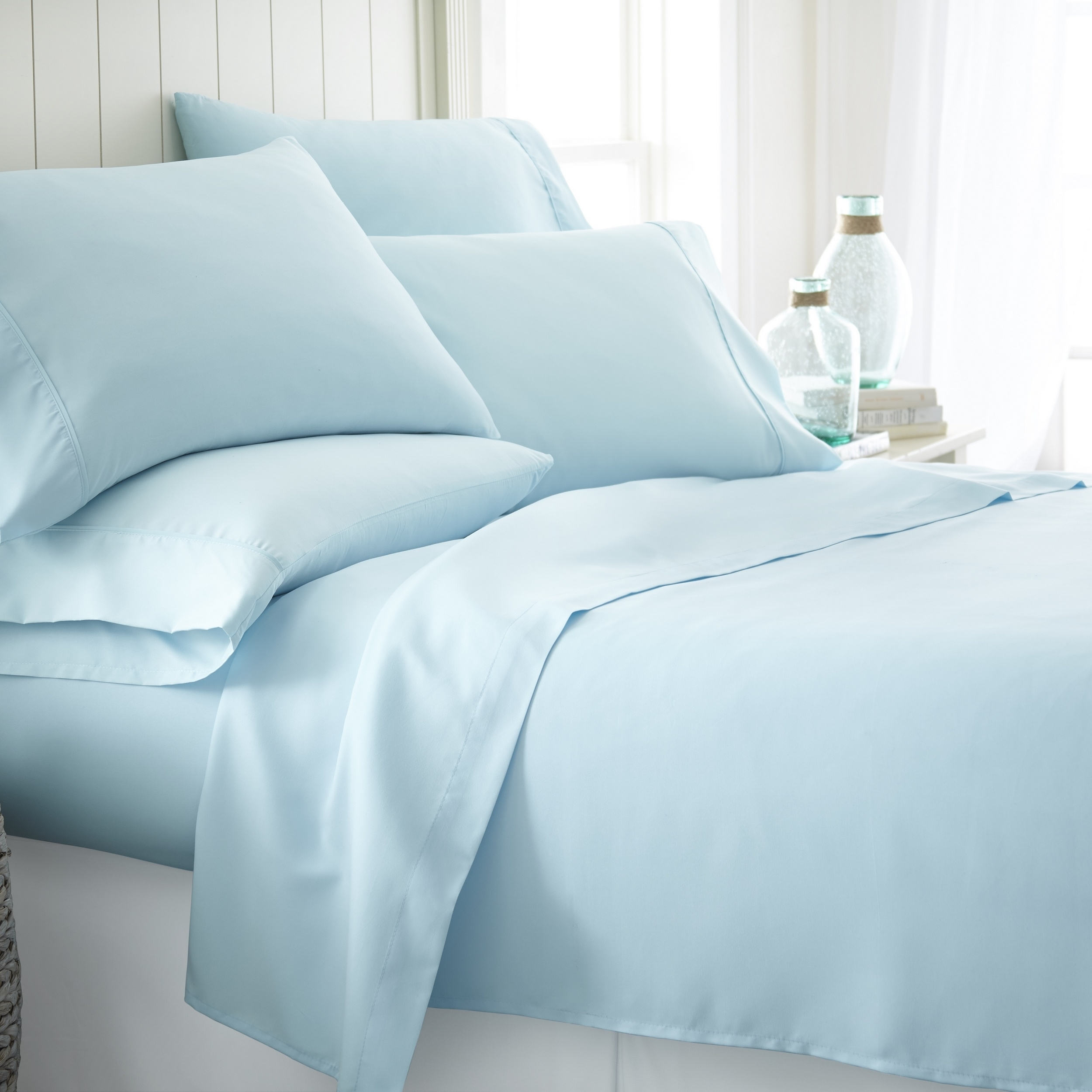 Premium Bamboo 6-piece Bed Sheet Set In 14 Colors By Bamboo Softness - Aqua, Full
