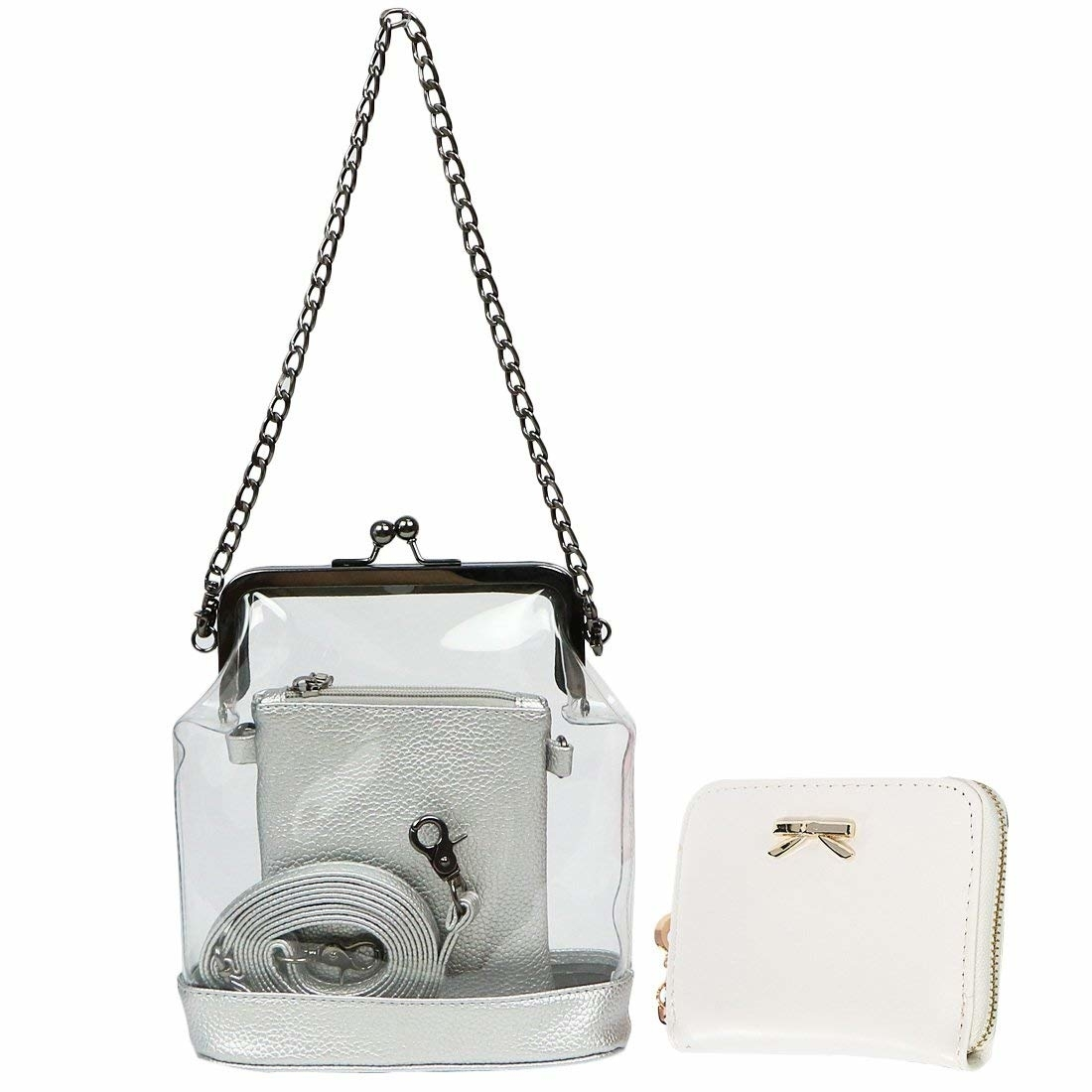 Women's 2-in-1 Transparent Clear Bag Shoulder Crossbody Purse + Wallet (imomoi) photo