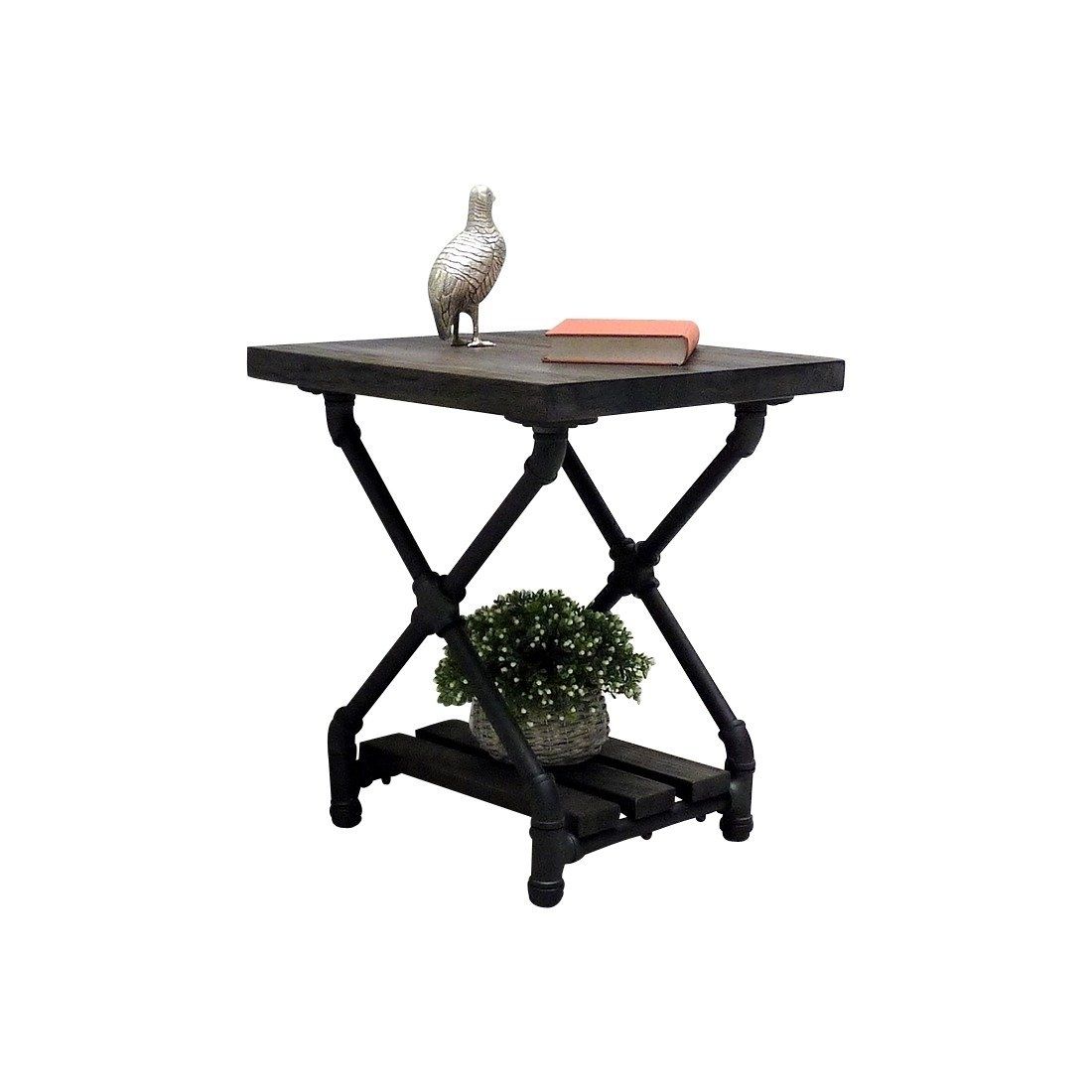 Furniture Pipeline Industrial Chic Side Table Steel Combo Stained Wood