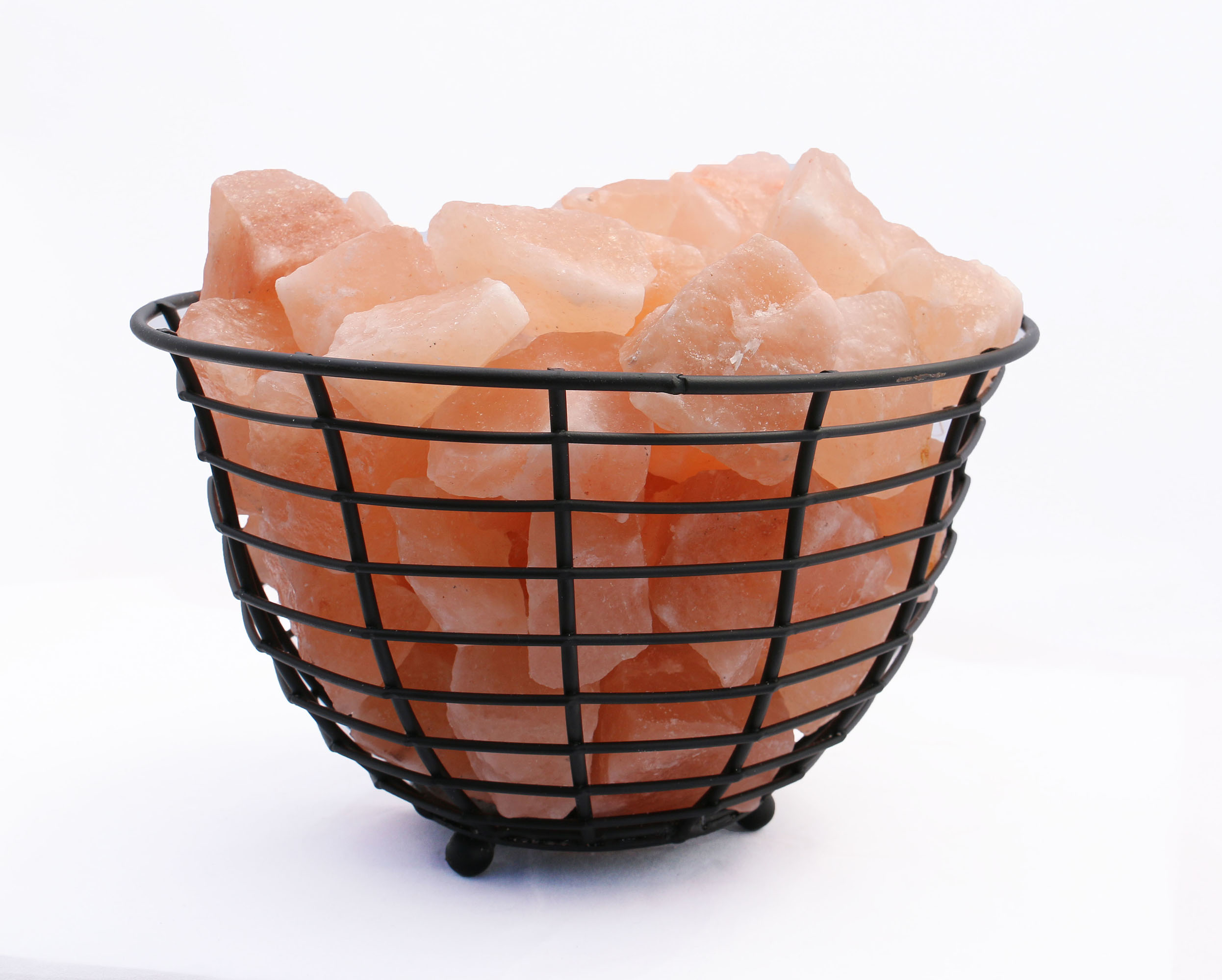 """9\"""" Himalayan Wired Basket Lamp 2.0 with Natural Rocks with dimmer"""