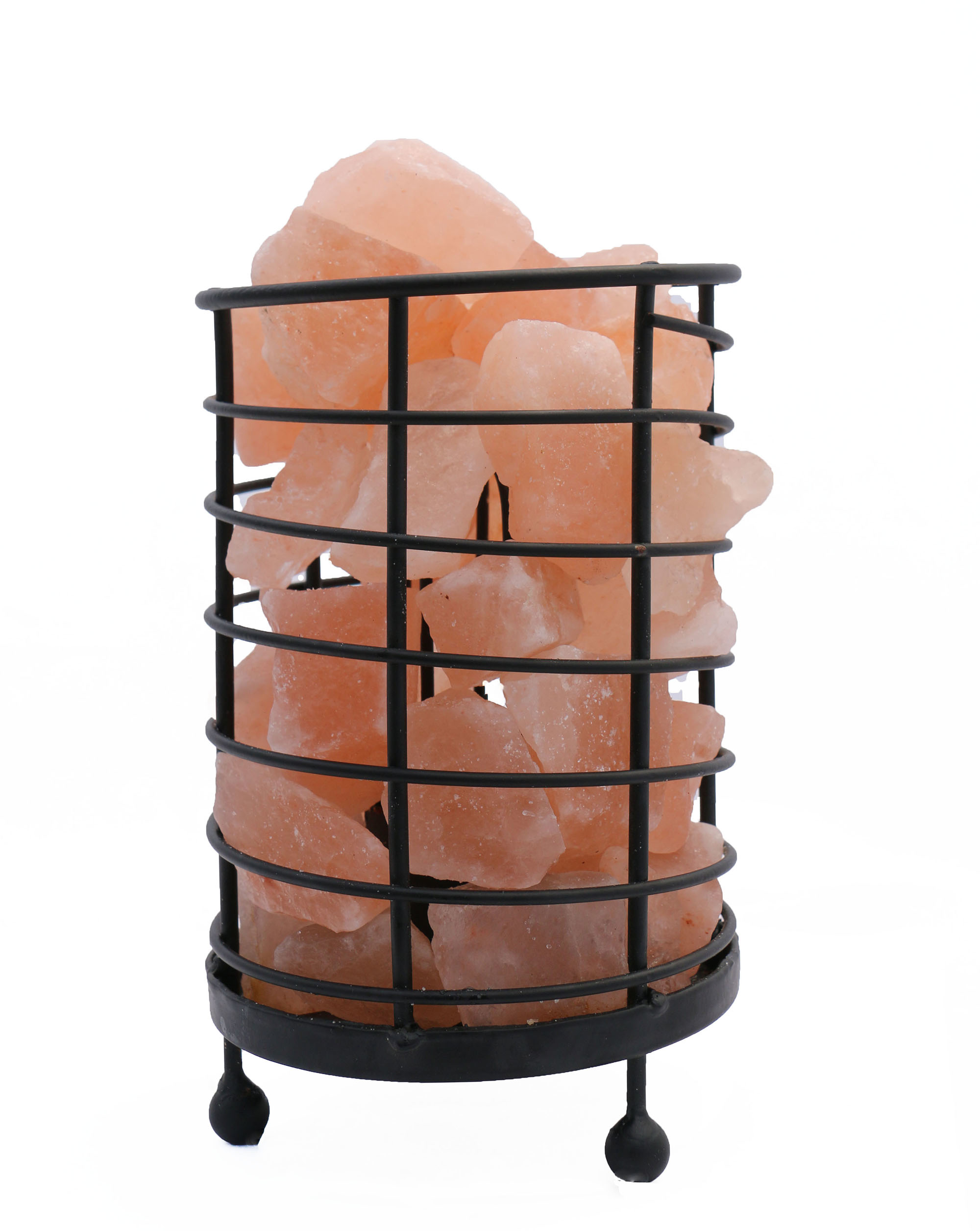 """4.5\"""" Cylinder Himalayan Wired Basket Lamp 4.0 with Natural Rocks with dimmer"""