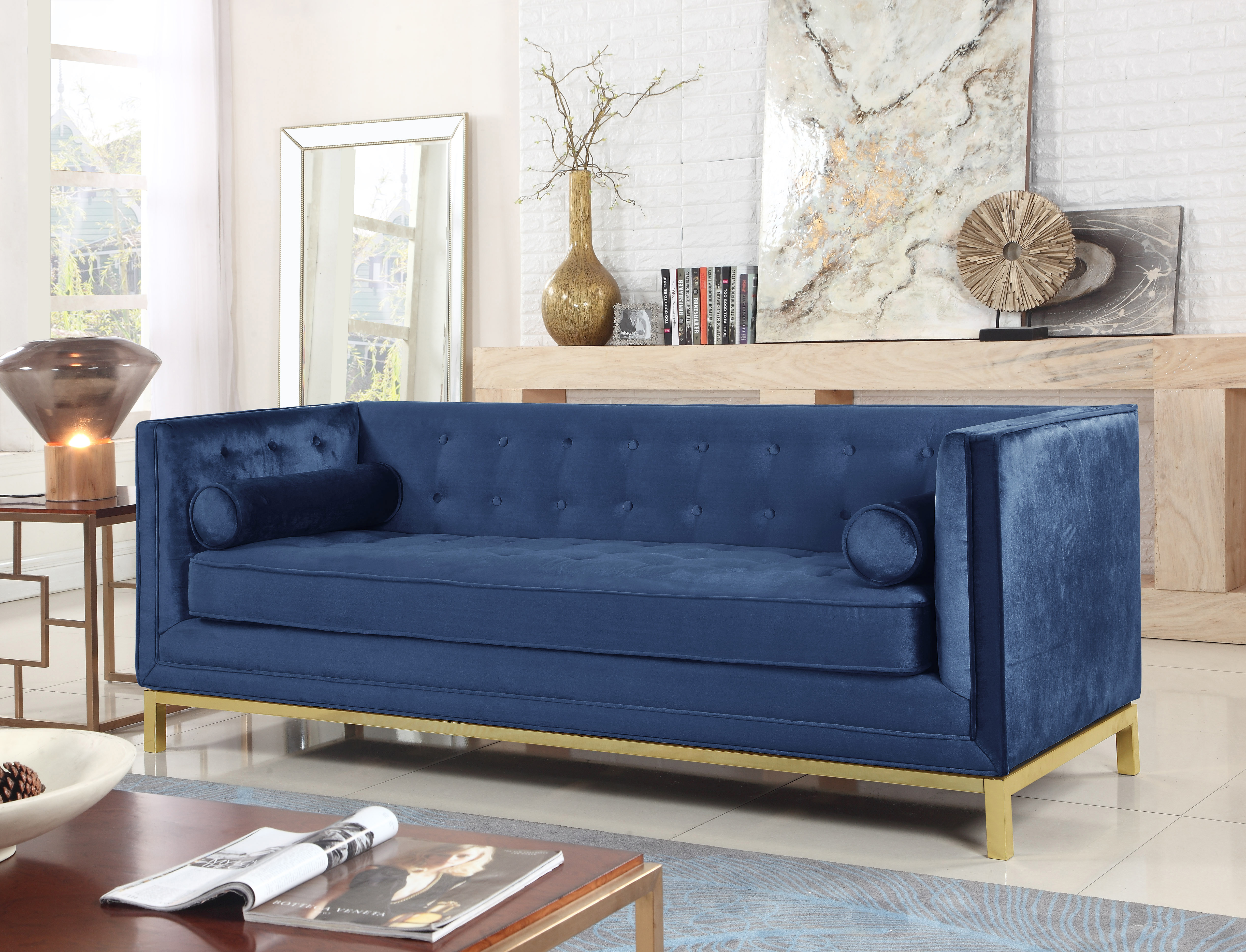Iconic Club Sofa Tufted Velvet Plush Cushion Brass Ed Stainless Steel Brushed Metal F Vigan