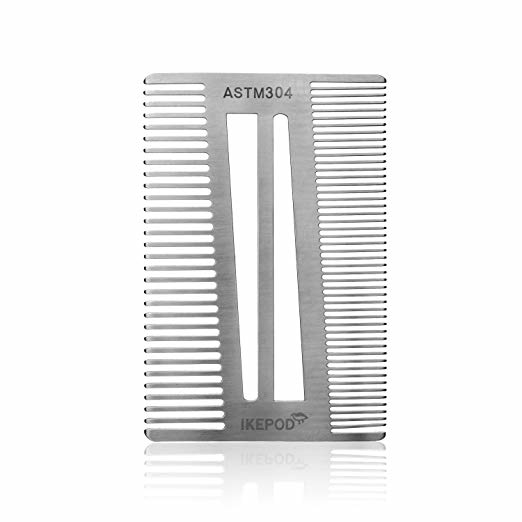 Pocket Size Stainless Steel Beard Comb - Credit Card Size EDC Metal Wallet Comb for Trimming or Shaping Mustache and Beard Hair by Ikepod - Erec Stainless Steel 5b3ebe0b037a8b47ed2a0824