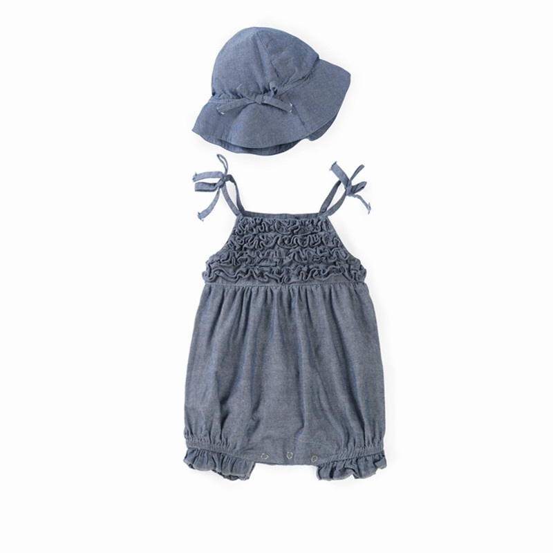 Baby-Girls Chambray Romper with Hat – 12-18m