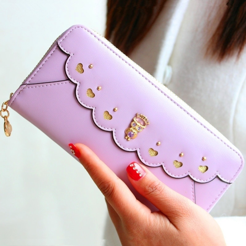 Designer Women Fashion Wallets,Quality Leather Women Purses,High Capacity Women Wallets - light purple (Sam369) photo