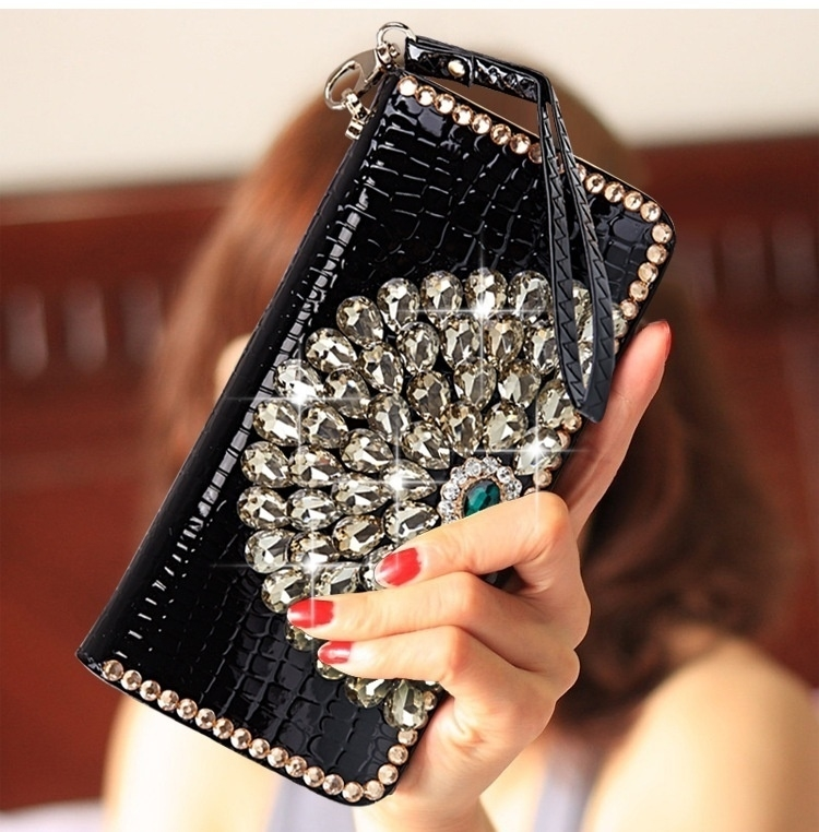 Classic women female ladys purse wallets rhinestone clutch purse wallets photo