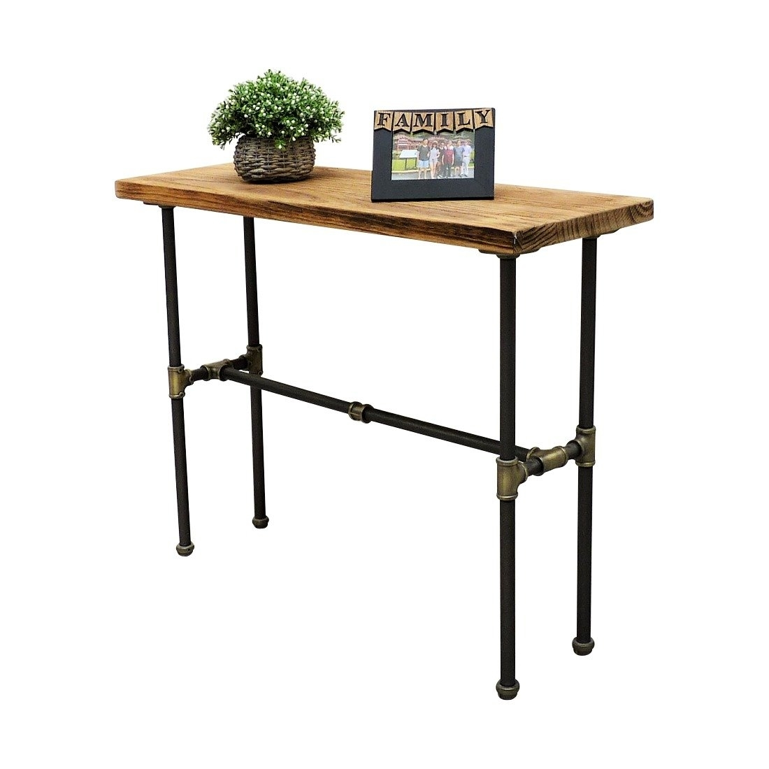 Furniture Pipeline Industrial Chic Console Table Steel Combo Stained Wood