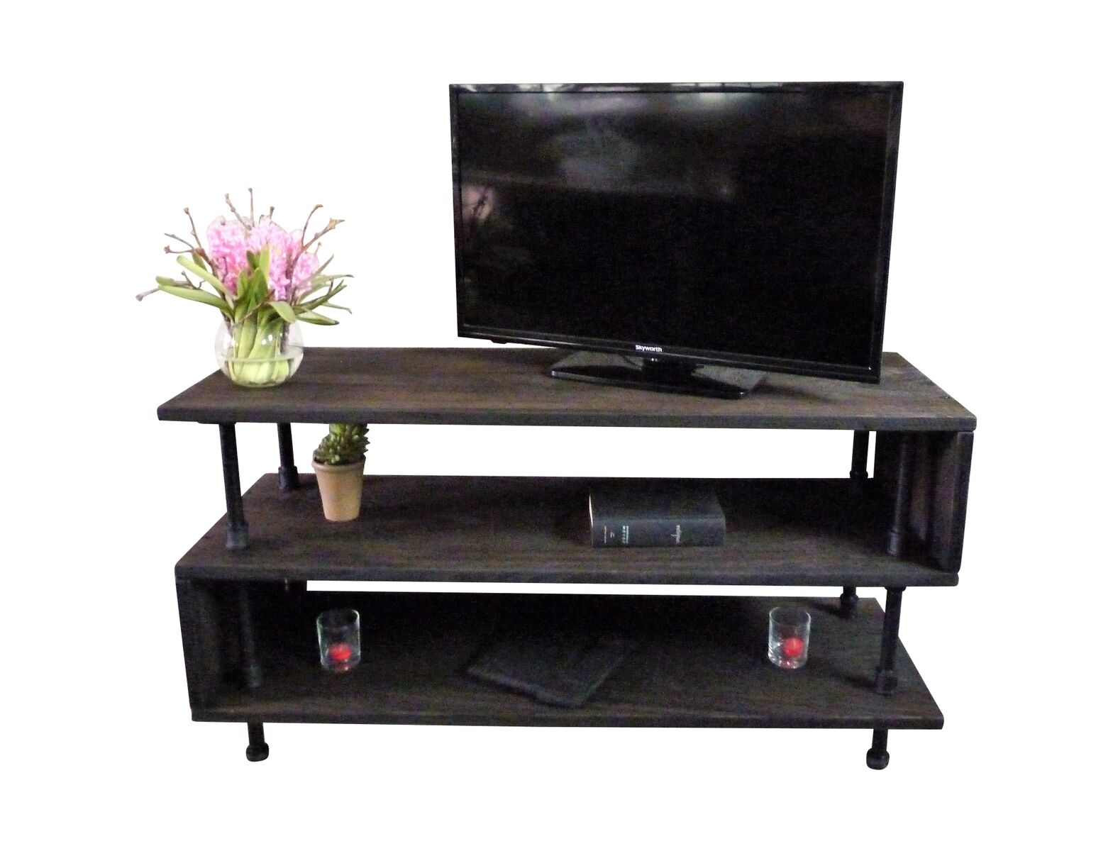 Modern Industrial Tv Stand Steel Combo Stained Wood Tucson