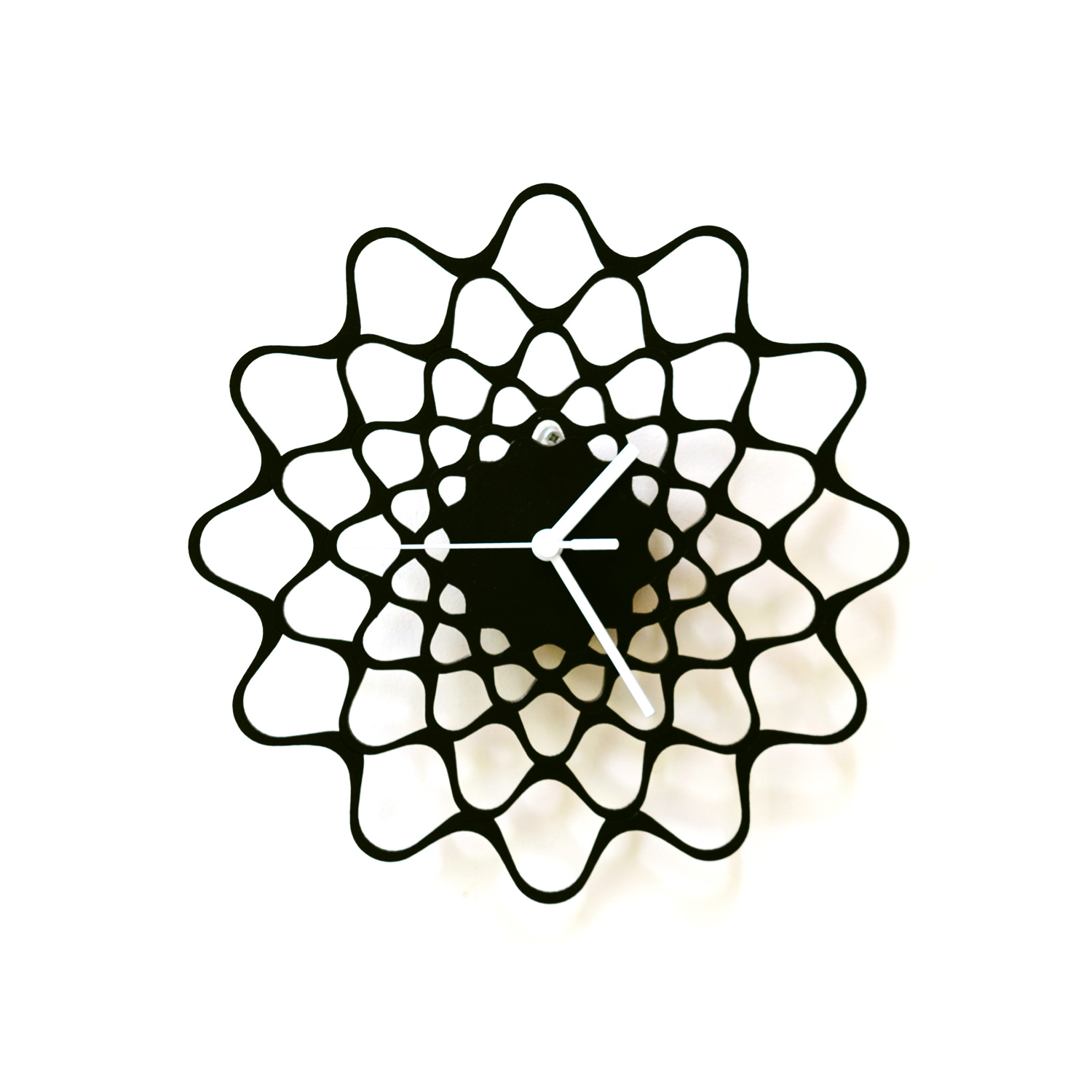"""Embroidery black / natural - 11½\"""" contemporary modern wall clock made of wood, wooden clock, wood wall art - black, standard hands"""