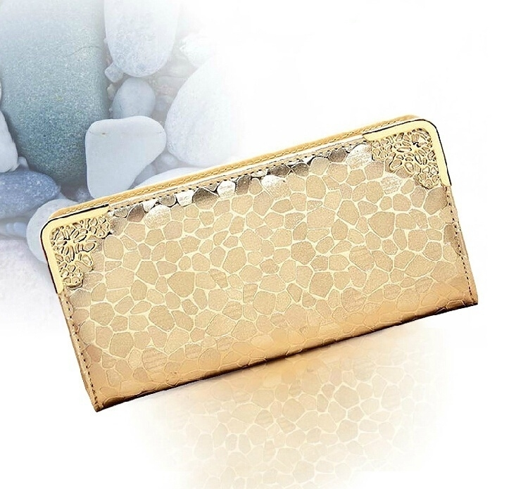 Luxury Hot Sale New Korean Women's fashion designer HandBag Long Wallet Purse Leather Case - gold (Sam369) photo