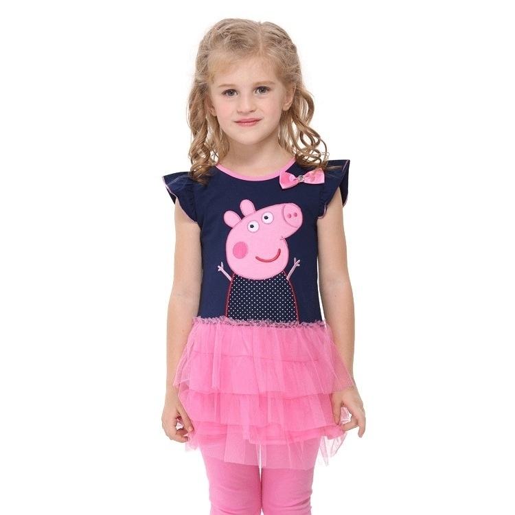 18m-6years Baby Girl Cotton Dress Kids Cartoon Wear Children Tutu Style Clothing With Bowknot