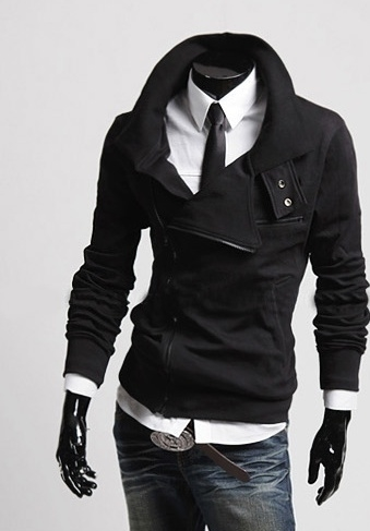 Solid Color New Fashion Men's Slim Fit Leisure Top Designed Hooded Jackets Coats - black, s 5b52f842962352091752391f