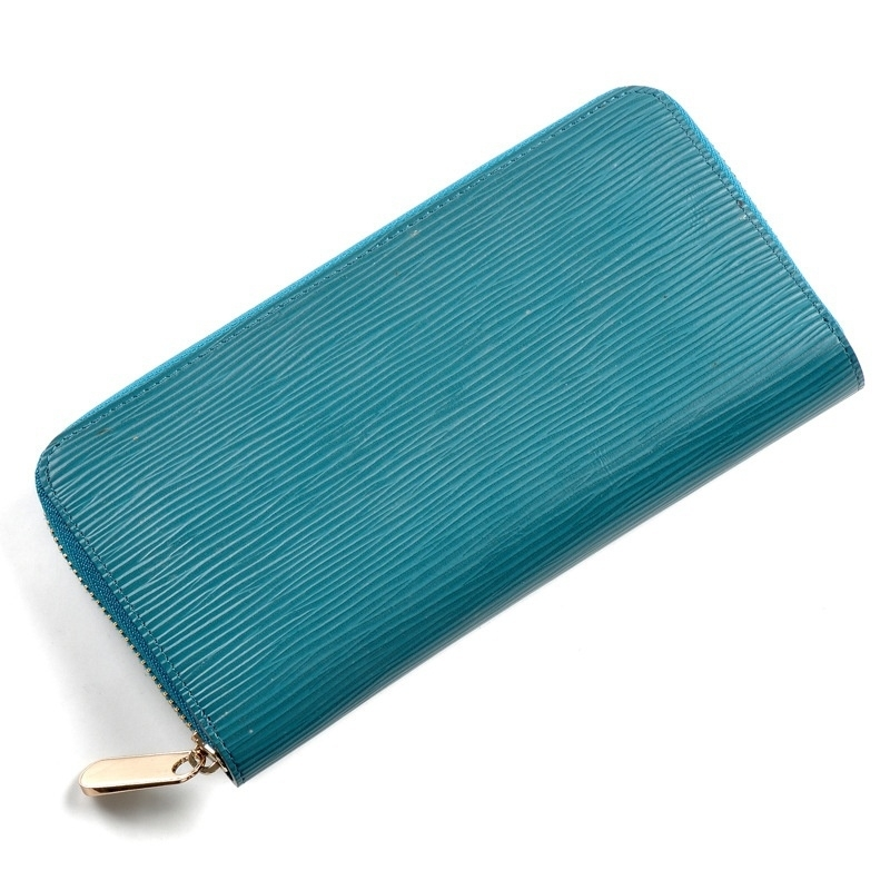 Exclusive New Genuine Brand Blue Water Ripples 100% Leather Luxury Women's Designer Purses Wallet With Chains Unique (Sincolor) photo