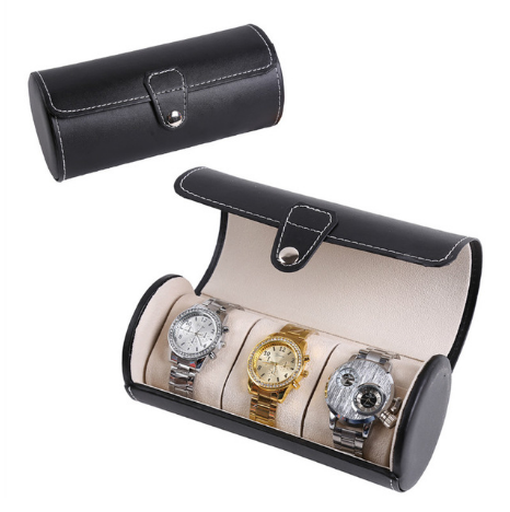 Black 3 Slots PU Leather Jewelry Watch Display Box Bracelet Necklace Travel Case Organizer 5b57e1afba072241ea6ccb78