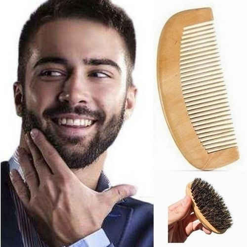 Men Natural Boar Bristle Beard Brush and Mustache Comb Kit Handmade 5b57f159d9fd910405611739