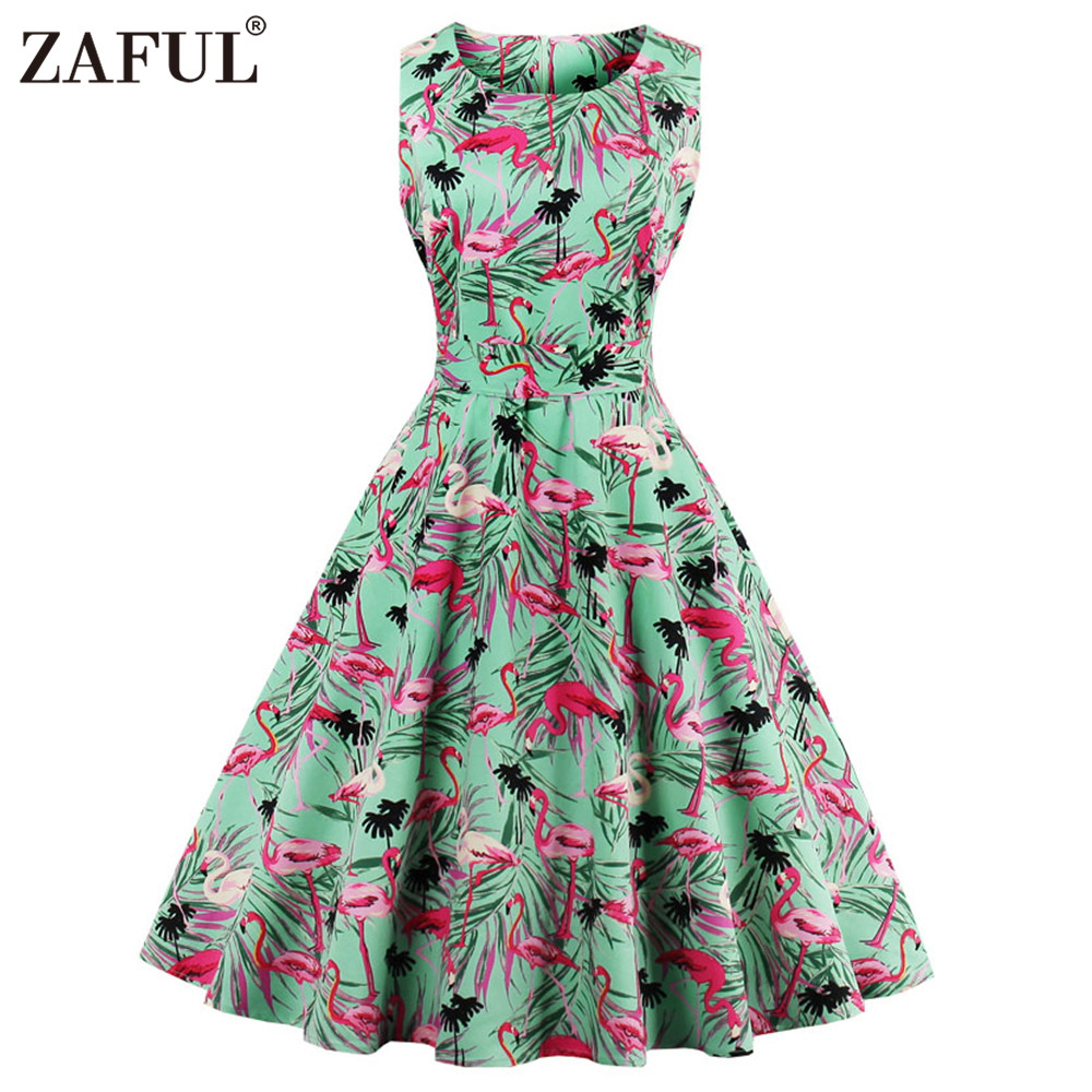 2XL Zaful Woman Vintage Summer Dress Round Neck Sleeveless Ethnic Print Dress Plus Size 50s Elegant Sexy Casual Party Swing Dress