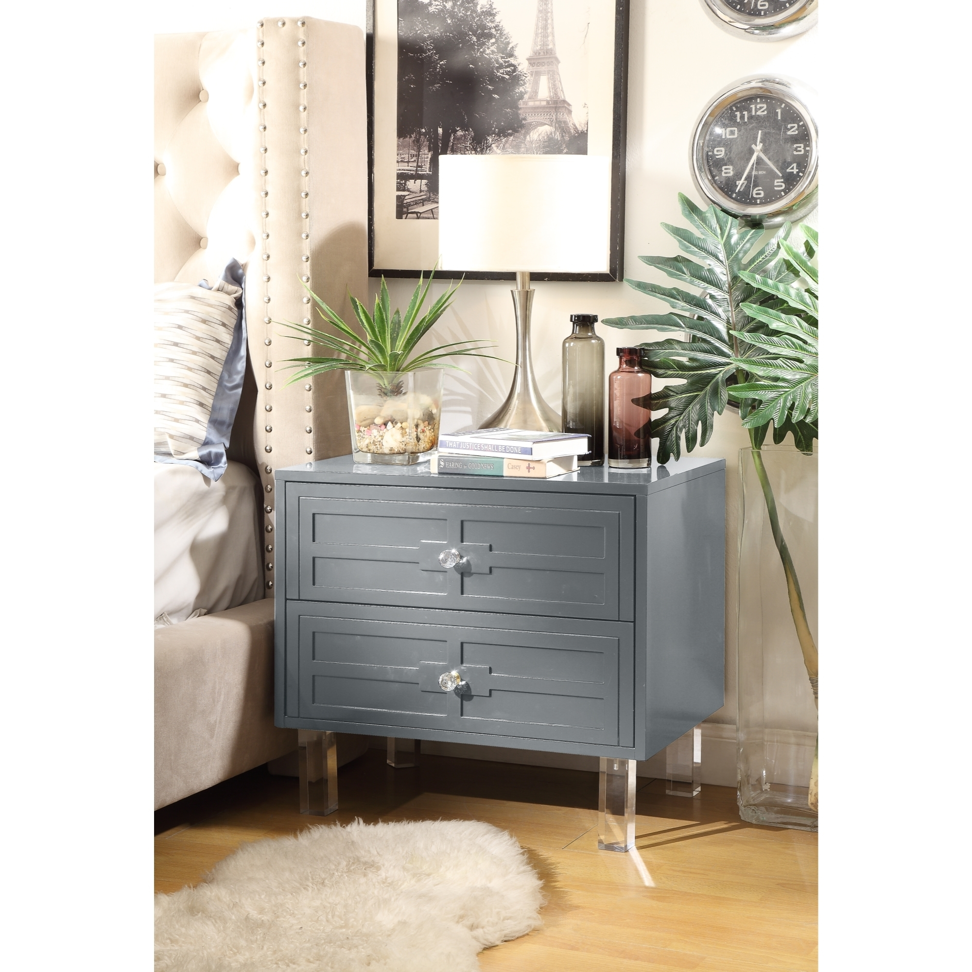 Maya MDF Wood Lacquer - 2 Drawers   Finish Lucite Leg   Side Table   Nightstand   Modern & Functional by Inspired Home - Dark grey