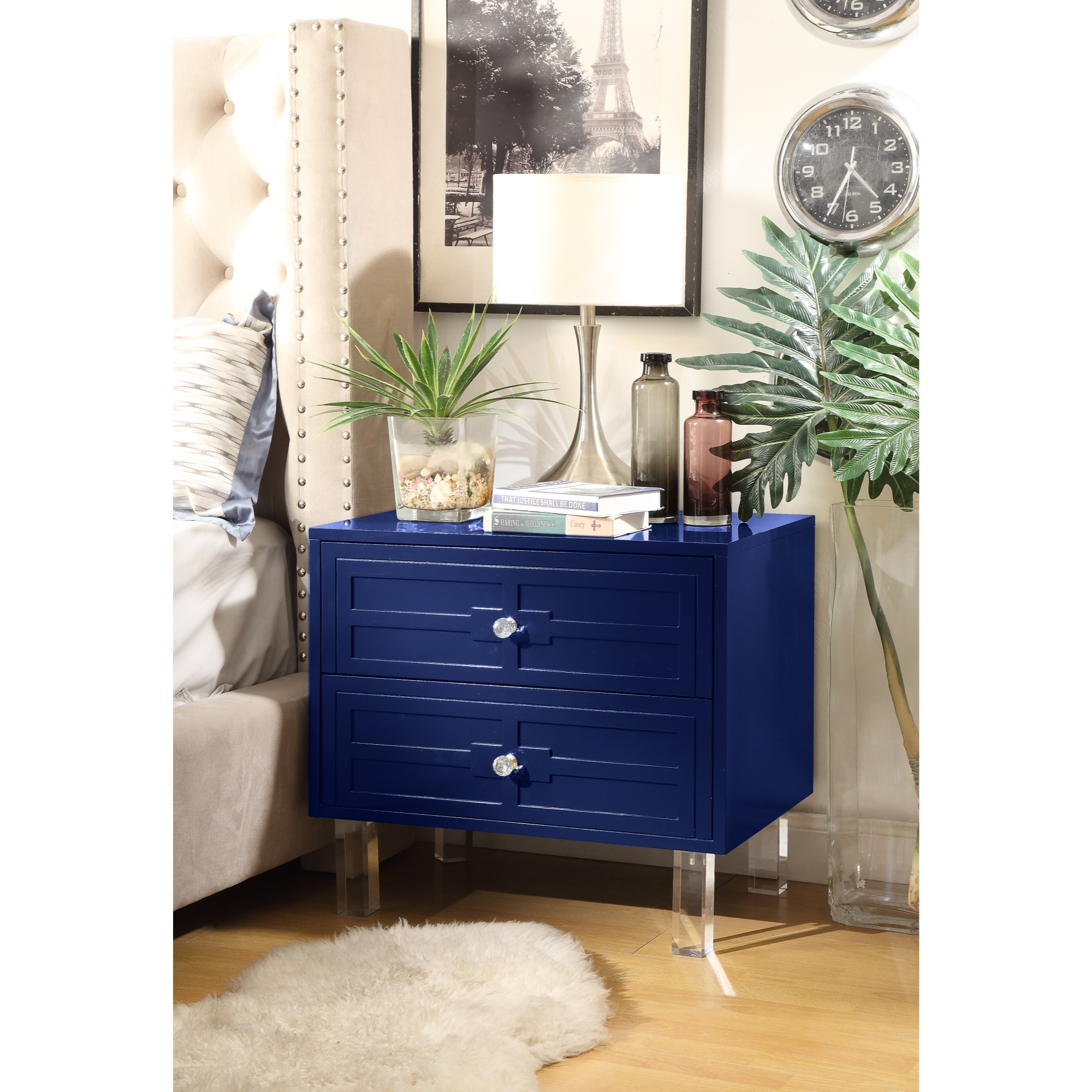 Maya MDF Wood Lacquer - 2 Drawers   Finish Lucite Leg   Side Table   Nightstand   Modern & Functional by Inspired Home - Navy