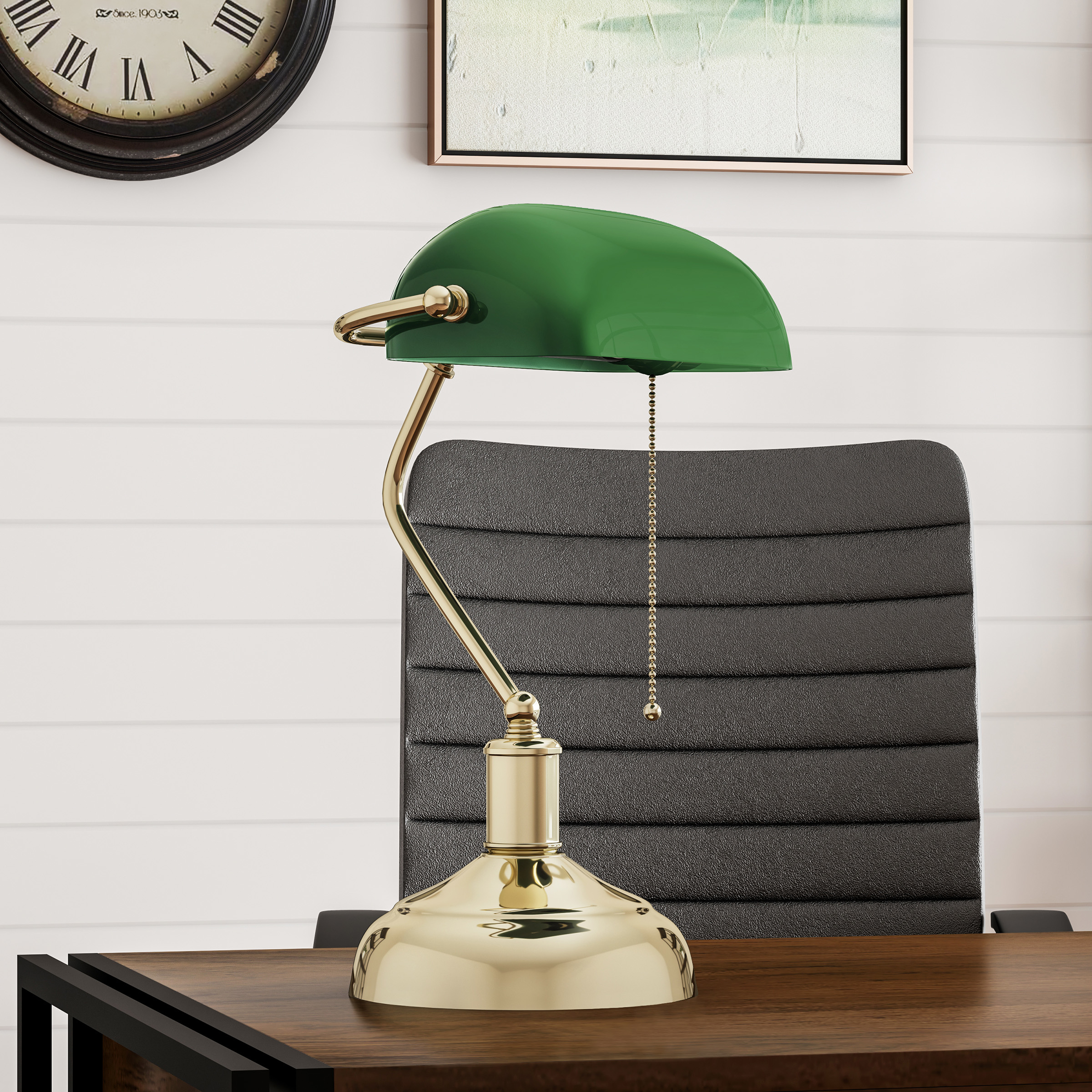 Bankers Lamp Green Glass Shade Antique Vintage Style Retro Desk or Table Lamp with Pull Cord