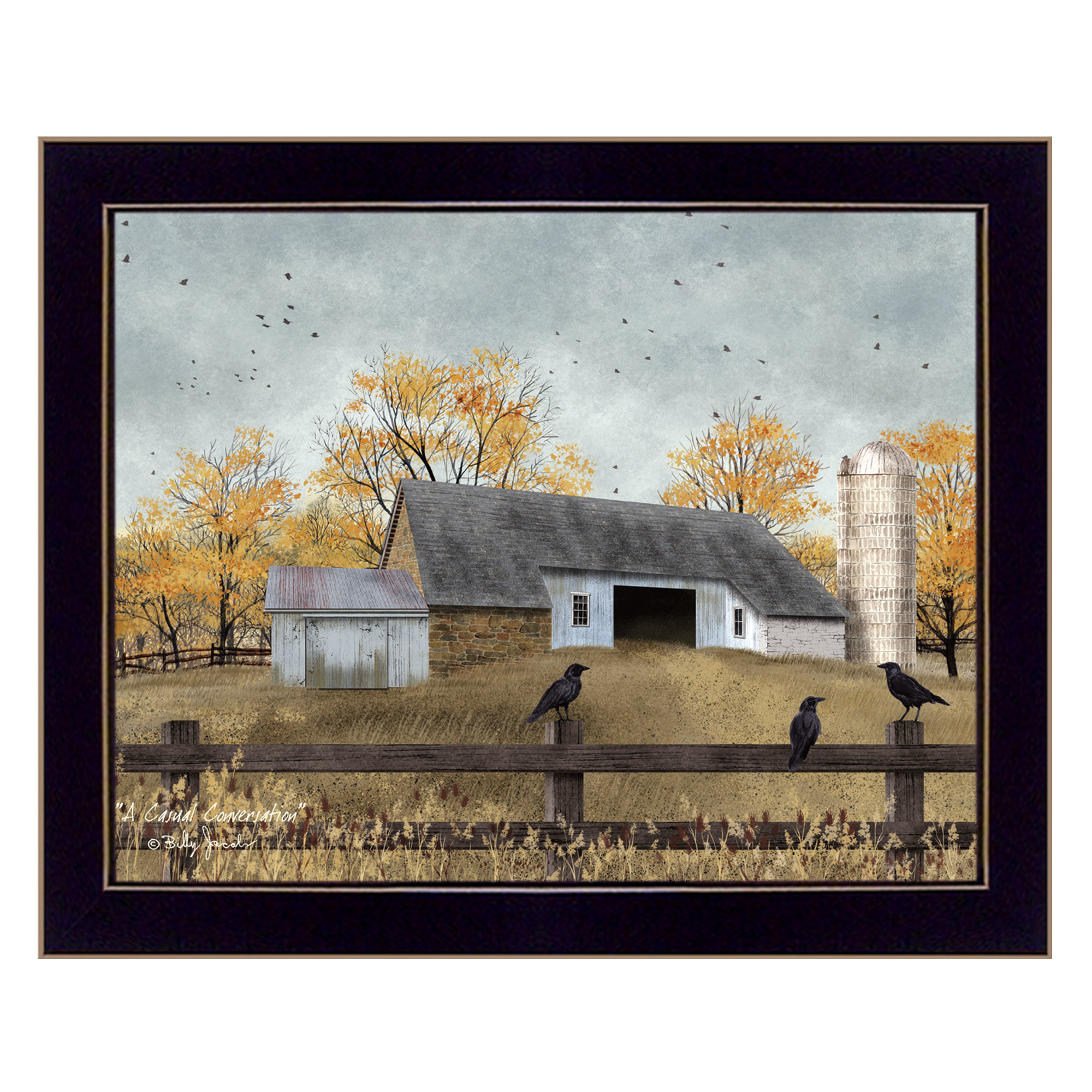 Bj1095A-712 A Casual Conversation by Billy Jacobs. Farm setting with barn & black crows; black framed print size is 18x14 and arrives ready to hang. The surface of the print is textured with a fade resistant coating so no glass is necessary. Arrives ready to hang. Made in the USA by skilled American workers. * Textured Artwork with a 'rolled on' acid-free acrylic coating to create a canvas painting effect. * UV Protectant Coating protects artwork from fading. No glass is necessary. * Moulding adds natural beauty to the framed art. Frame is keyholed for the easy hanging. * This Fine Home Decor piece made in the USA by Woman Owned Business (Wbe) is a perfect gift for a friend or relative. *