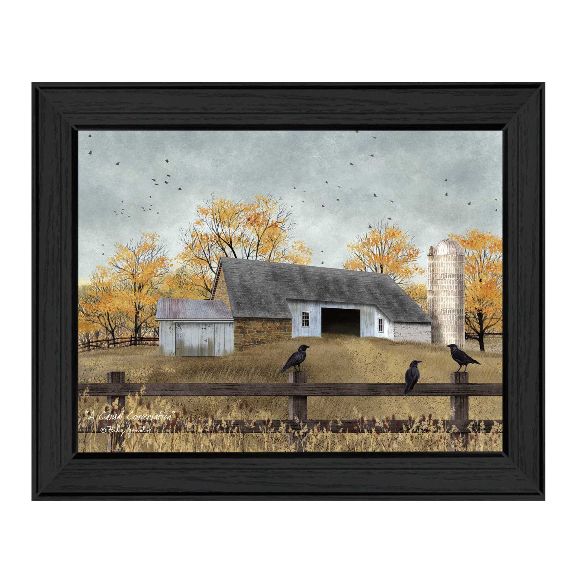 "Bj1095-405 A Casual Conversation is a 18"" x 14"" framed print by artist Billy Jacobs. This artwork features a barn and silo in a fenced in area with blackbirds sitting on the fence railing. To view a matching vignette of this print search: V219-405. Framed prints are UV coated and arrives ready to hang. * Made in the USA * Women Owned (Wbe) * Textured Artwork with a 'rolled on' acid free acrylic coating to create a canvas painting effect. No glass is necessary. * UV protectant coating protects artwork from fading. * MDF moulding adds natural beauty to the framed art. Frame is keyholed for ease of hanging."