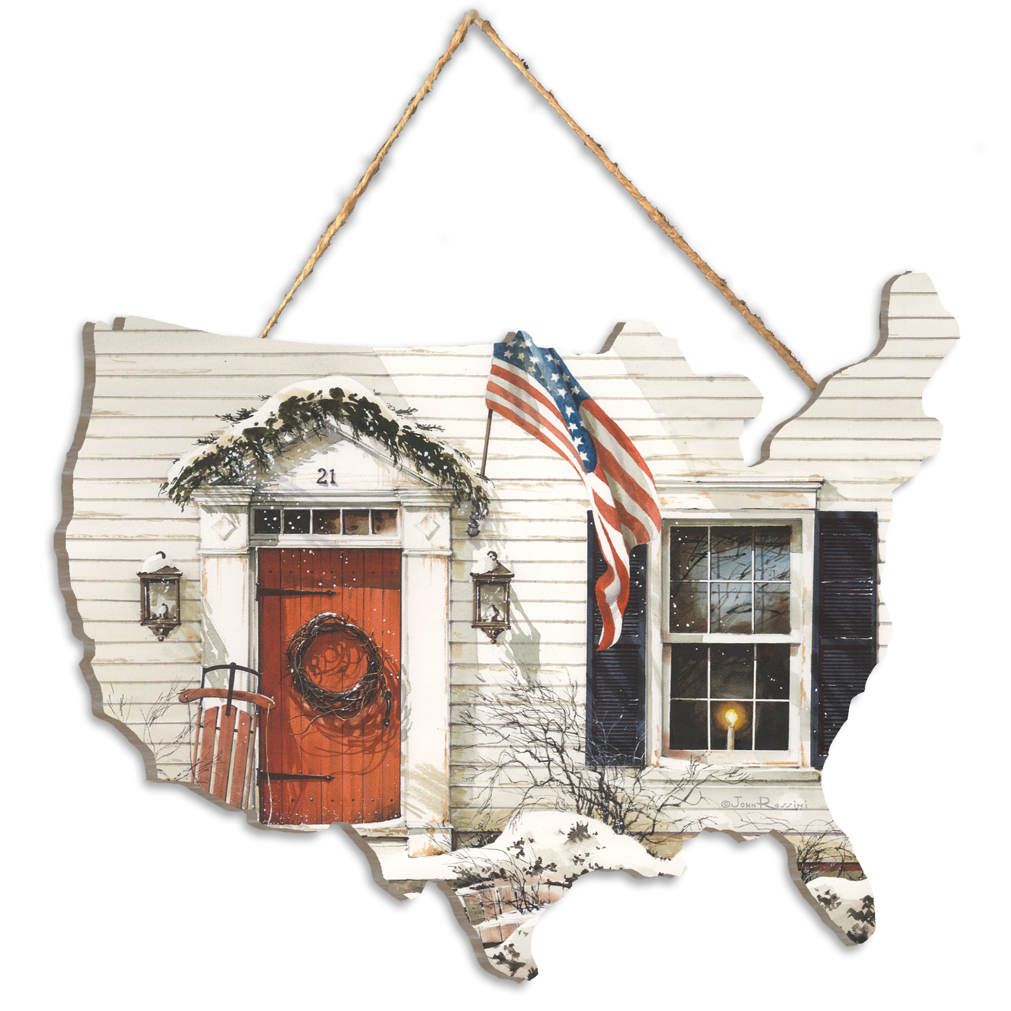 Jr177Us - 21 Main Street by artisan John Rossini. Applied print of a farm home with American flag in the shape of the United States. Approx 12x9 and arrives ready to hang. Primitive looking exterior of a home; with sled leaning against doorcase. Made in the USA by skilled American workers. * Artwork is printed on a wooden cutout in the shape of the United States Map * UV Protectant Coating protects artwork from fading. No glass is necessary. * Jute cord is attached on the back making this beautiful artwork ready to hang. * This Fine Home Decor piece made in the USA by Woman Owned Business (Wbe) is a perfect gift for a friend or relative. *