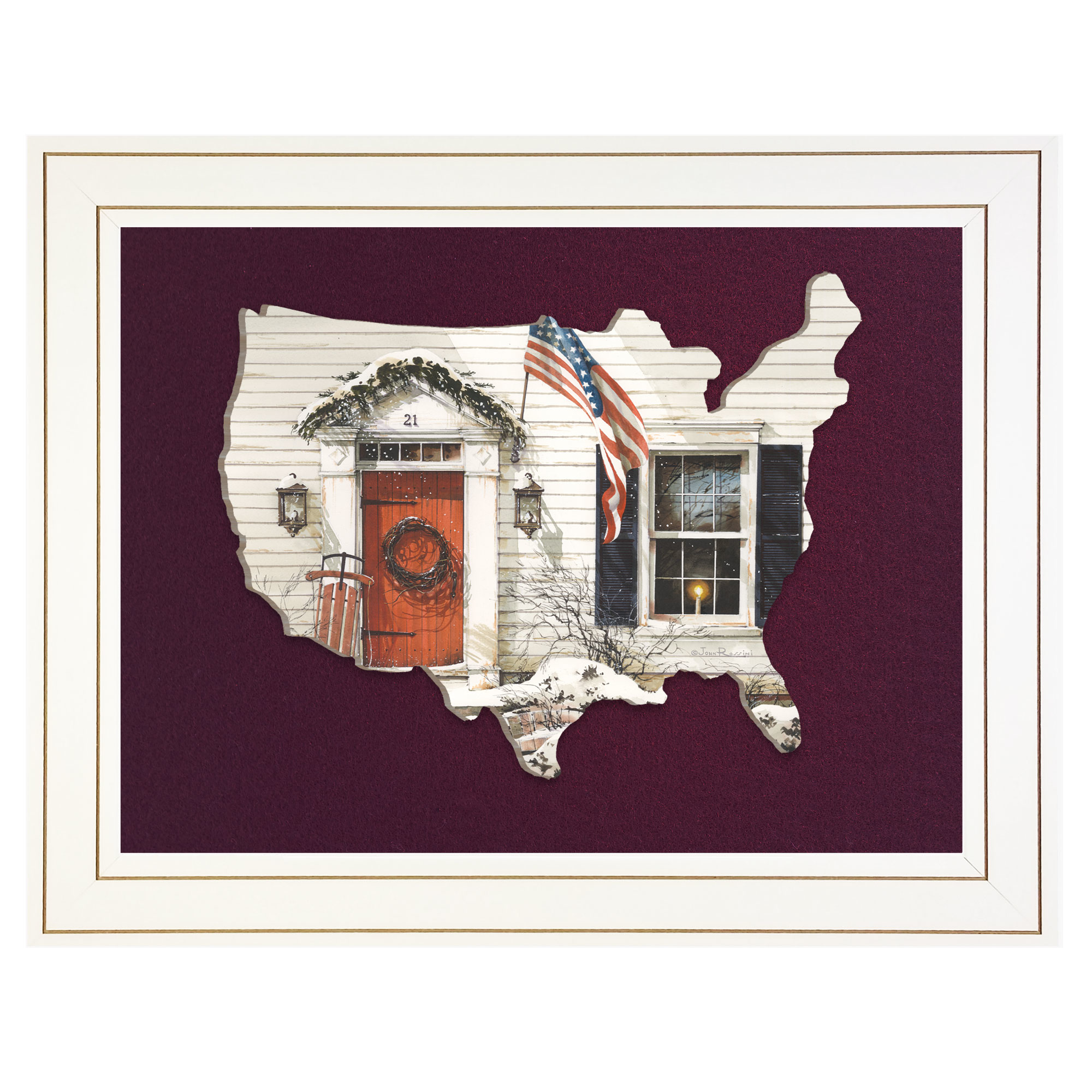 Jr177Usa-B-226G 21 Main Street, by artisan John Rossini, 3D framed art printed directly on wood in the shape of the United States, then mounted on a burgundy felt background, in an attractive 19 x 15 white frame. Arrives ready to hang. Made in the USA by skilled American workers. * Textured Artwork with a 'rolled on' acid-free acrylic coating to create a canvas painting effect. * UV Protectant Coating protects artwork from fading. No glass is necessary. * Moulding adds natural beauty to the framed art. Frame is keyholed for the easy hanging. * This Fine Home Decor piece made in the USA by Woman Owned Business (Wbe) is a perfect gift for a friend or relative. *
