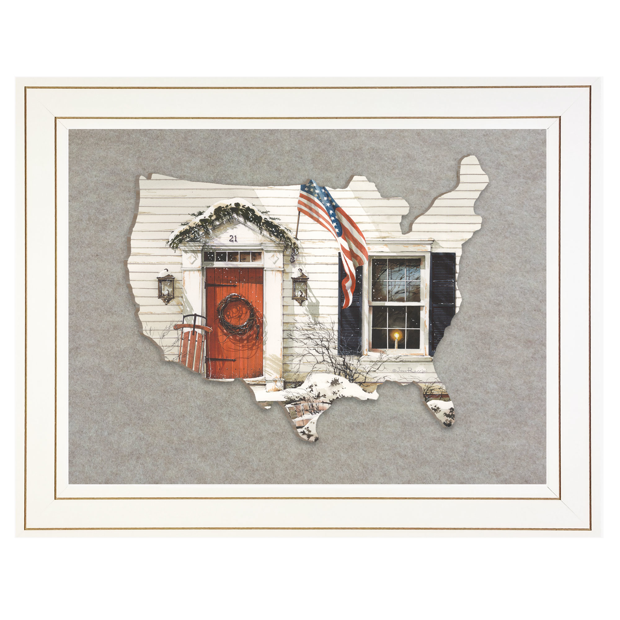 Jr177Usa-E-226G 21 Main Street, by artisan John Rossini, 3D framed art printed directly on wood in the shape of the United States, then mounted on a felt background, in an attractive 19 x 15 white frame. Arrives ready to hang. Made in the USA by skilled American workers. * Textured Artwork with a 'rolled on' acid-free acrylic coating to create a canvas painting effect. * UV Protectant Coating protects artwork from fading. No glass is necessary. * Moulding adds natural beauty to the framed art. Frame is keyholed for the easy hanging. * This Fine Home Decor piece made in the USA by Woman Owned Business (Wbe) is a perfect gift for a friend or relative. *